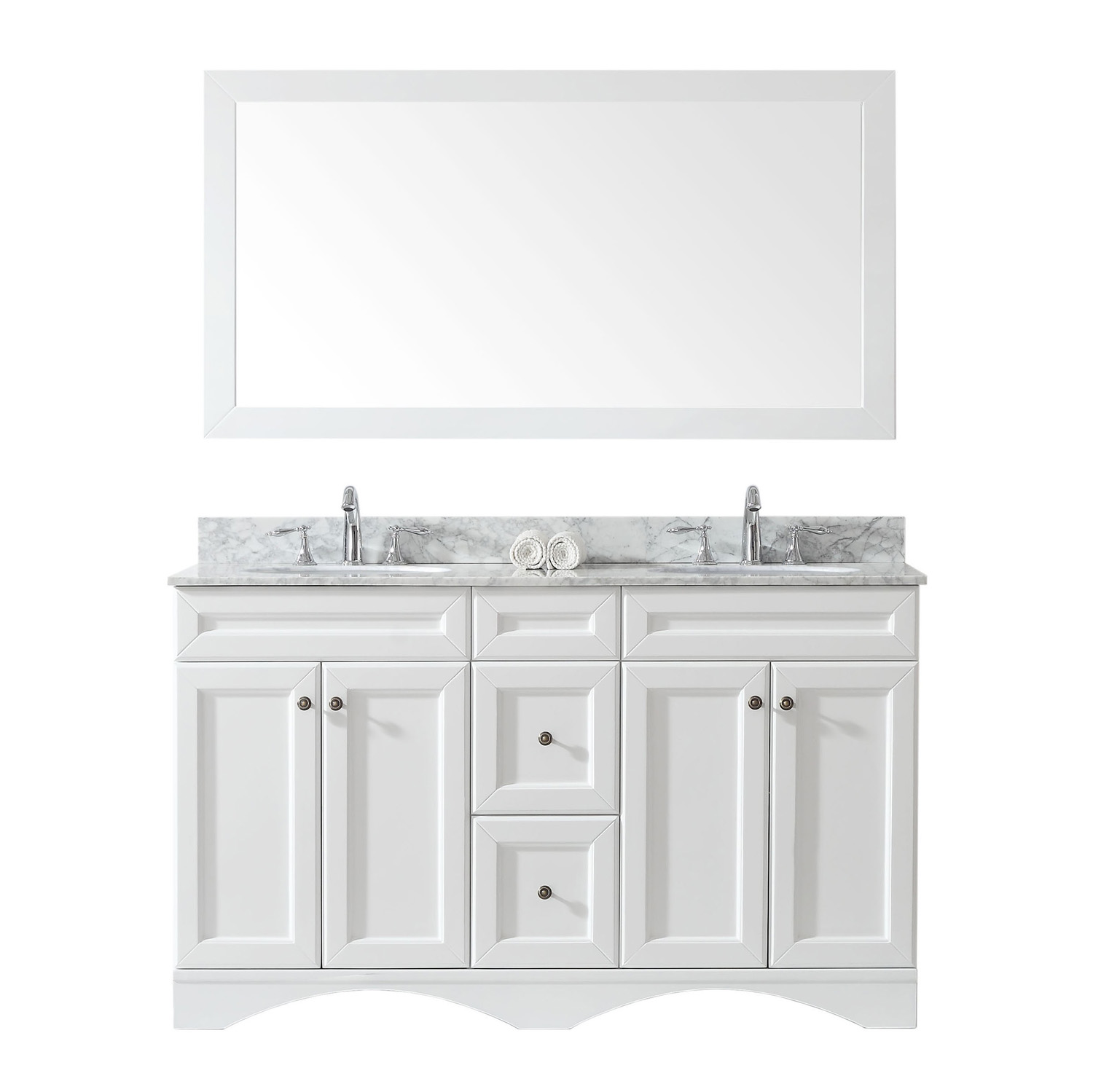"""60"""" Double Bath Vanity in White with Marble Top and Round Sink with Faucet and Mirror Options"""