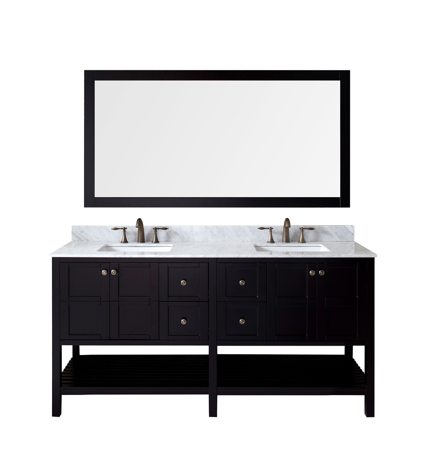 """72"""" Double Bath Vanity in Espresso Finish with Marble Top and Square Sink with Faucet and Mirror Options"""