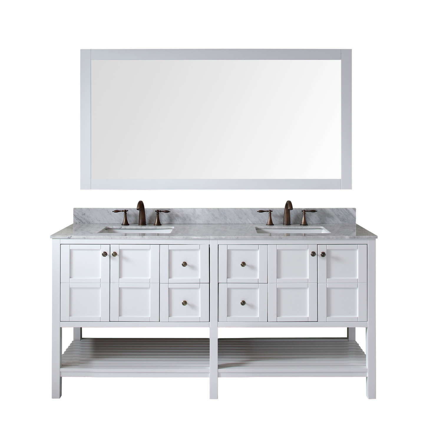 """72"""" Double Bath Vanity in White Finish with Marble Top and Square Sink with Faucet and Mirror Options"""