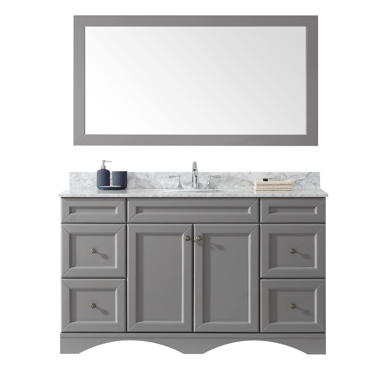 """60"""" Single Bath Vanity in Grey with Marble Top and Round Sink with Faucet and Mirror Options"""