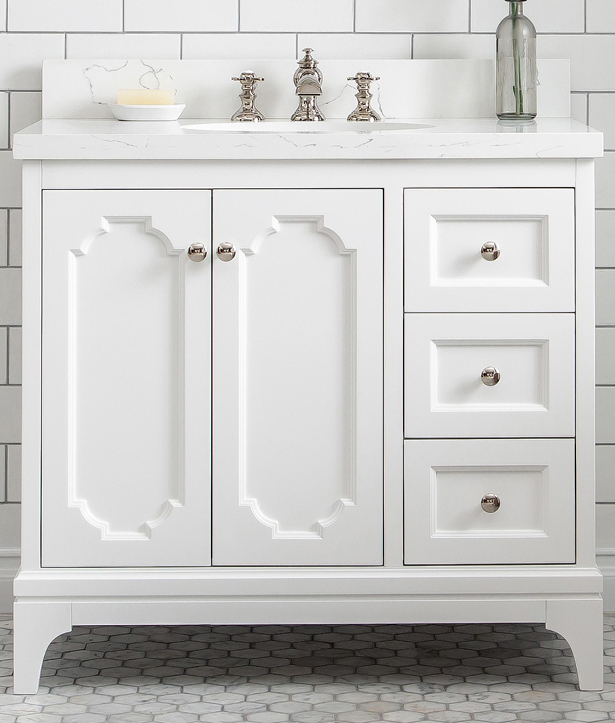 "36"" Single Sink Quartz Carrara Vanity In Pure White"