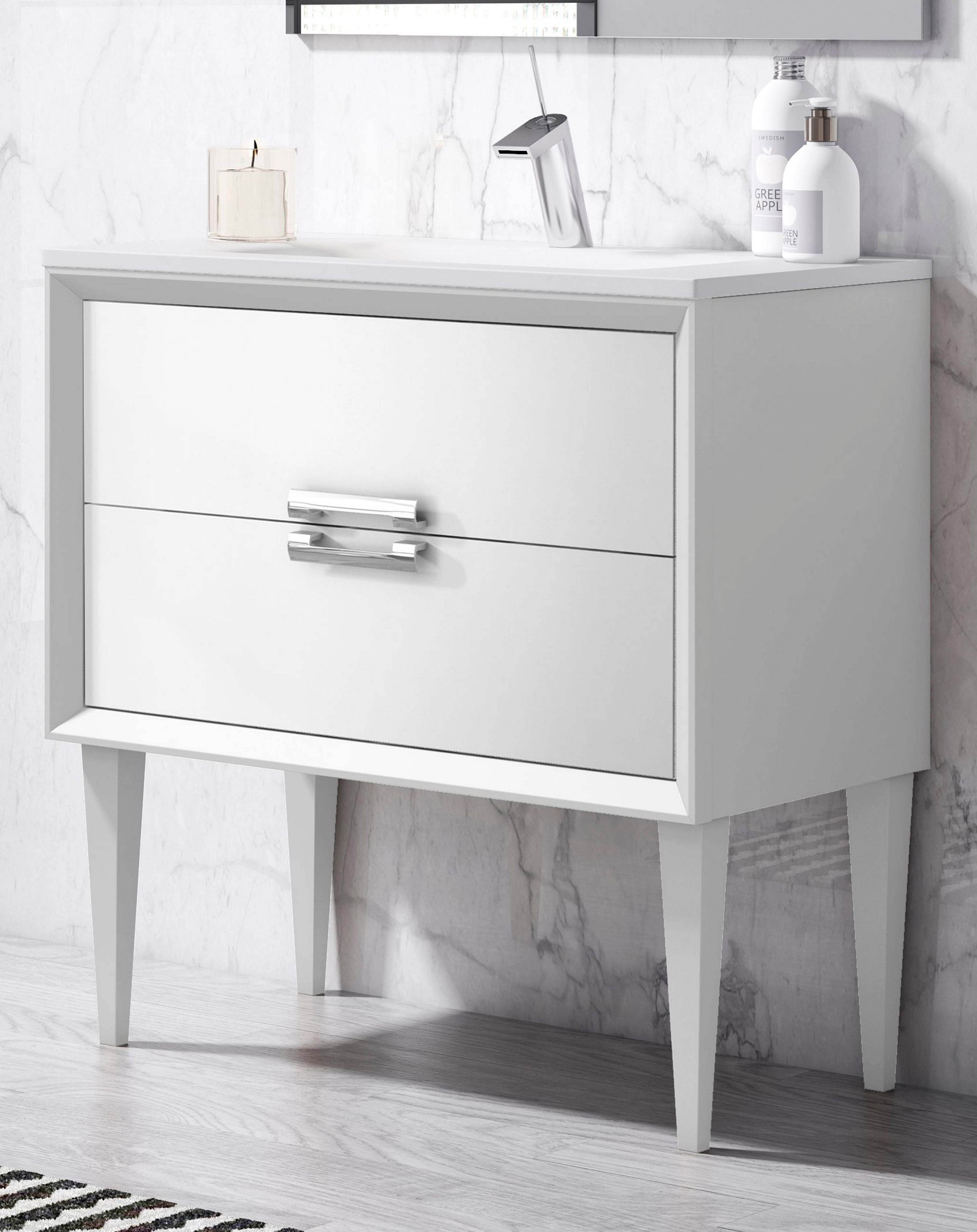 "24"" Single Sink Freestanding Vanity 2 Drawer Ceramic Sink with 4 Color Options"