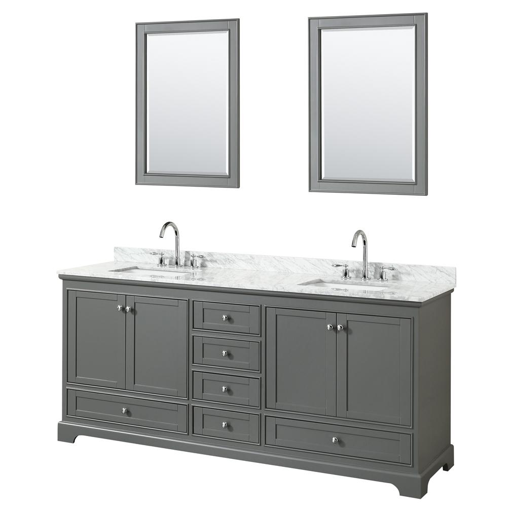 80 inch Double Sink Transitional Grey Finish Bathroom Vanity Set
