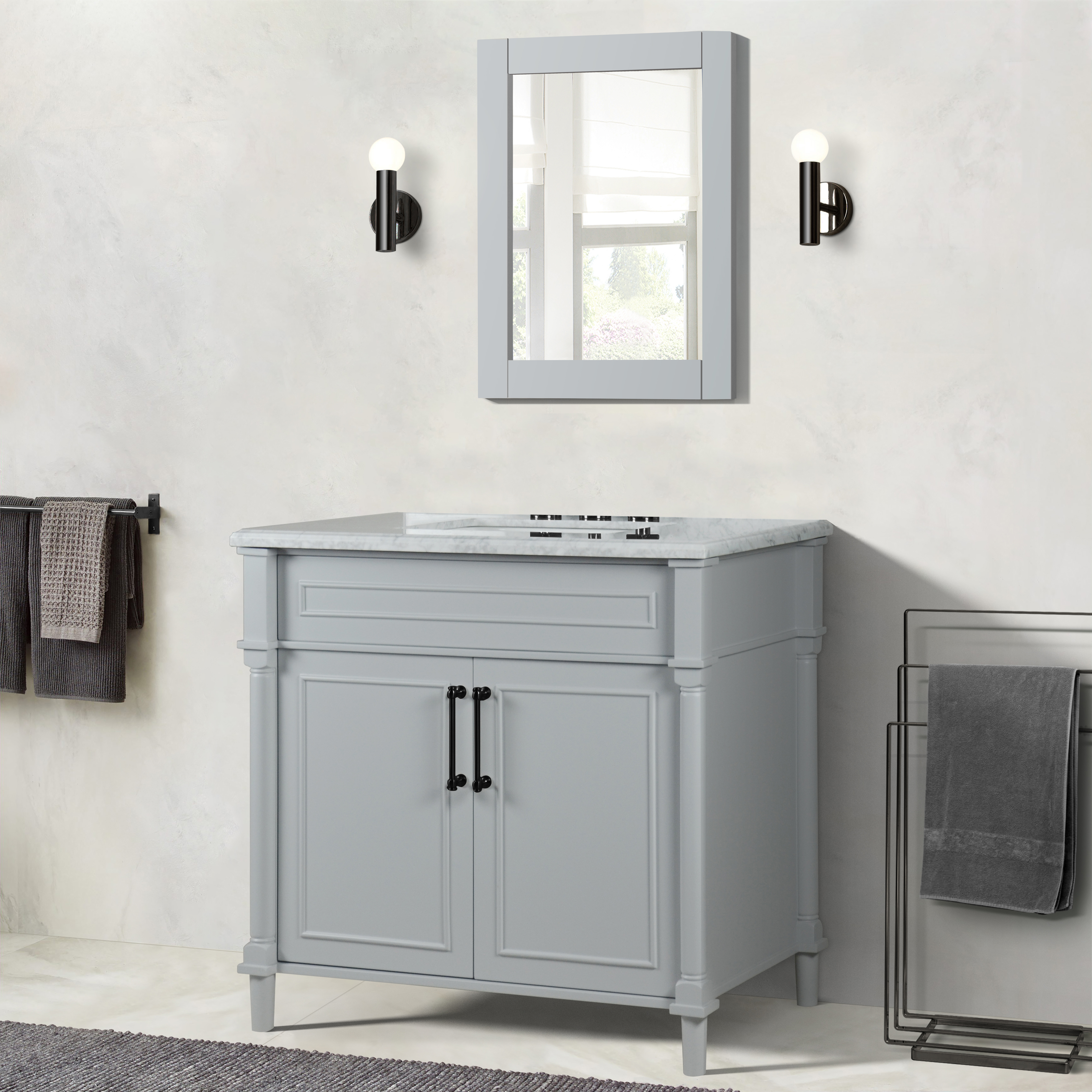 """36"""" Single Vanity in L/Gray with White Carrara Marble Top"""