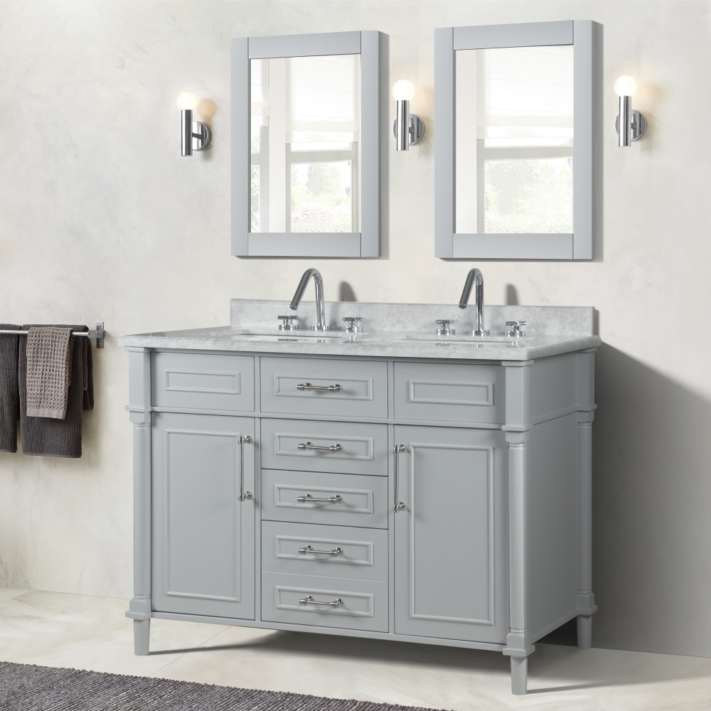 """48"""" Double Vanity in L/Gray with White Carrara Marble Top"""