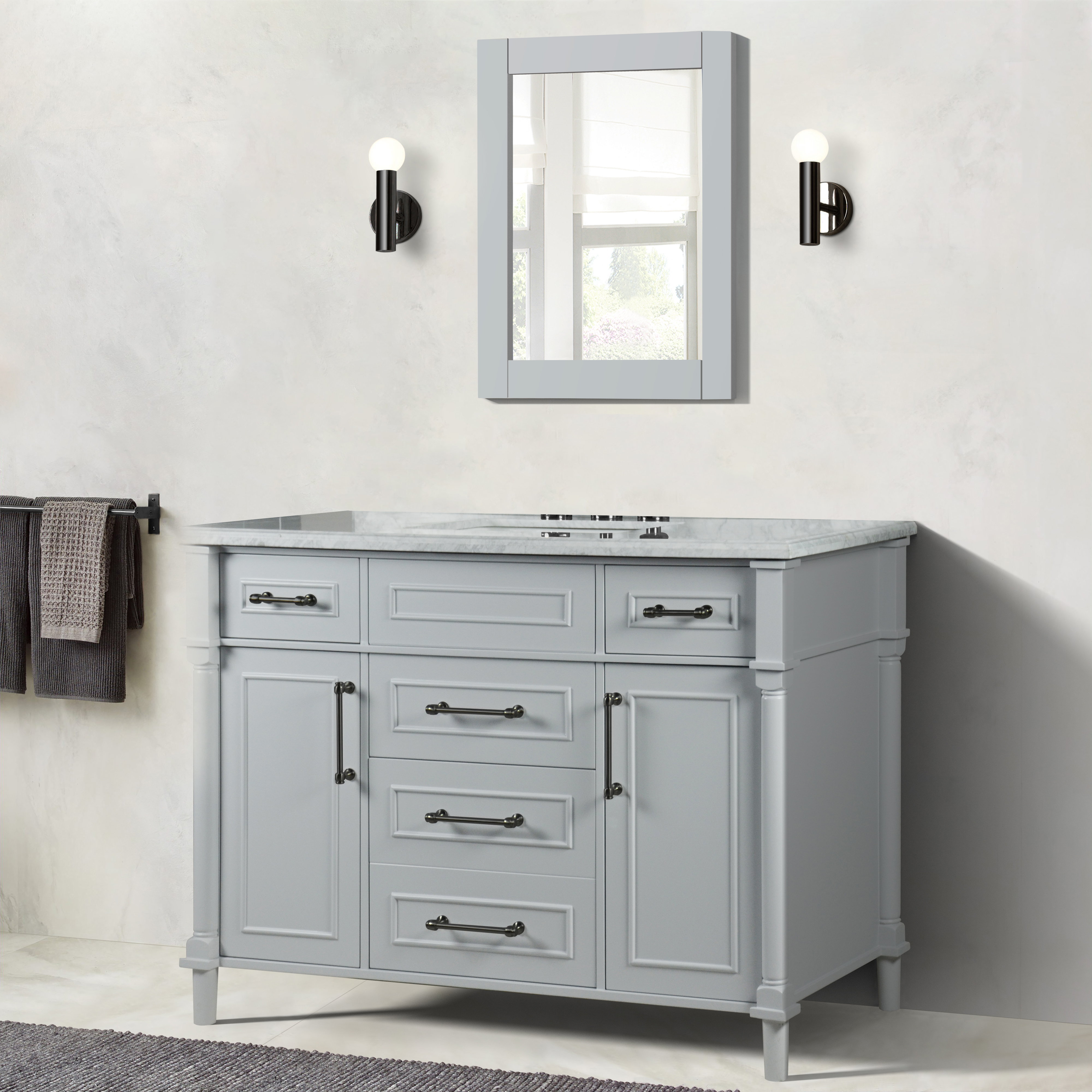 """48"""" Single Vanity in L/Gray with White Carrara Marble Top"""
