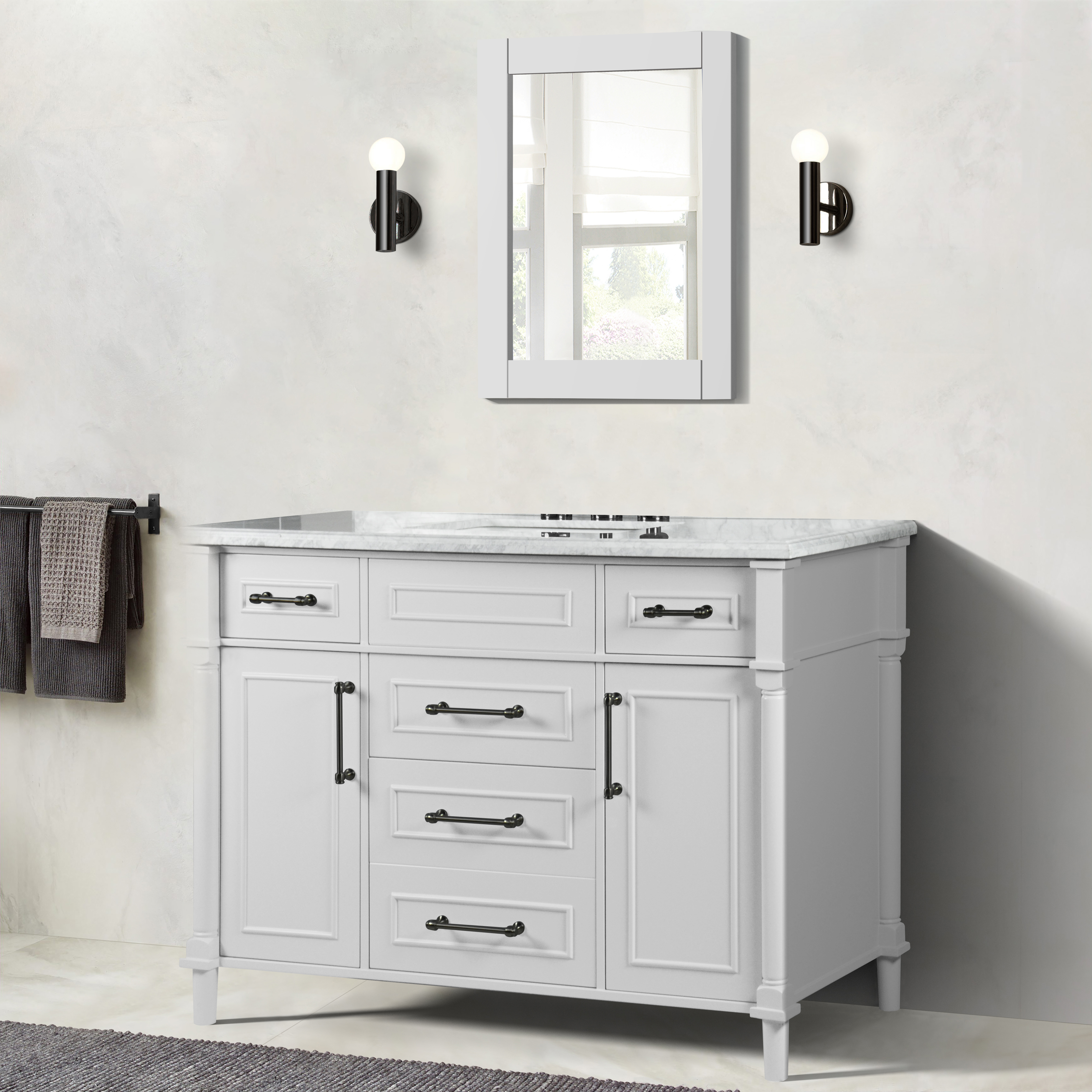 """48"""" Single Vanity in White with White Carrara Marble Top"""