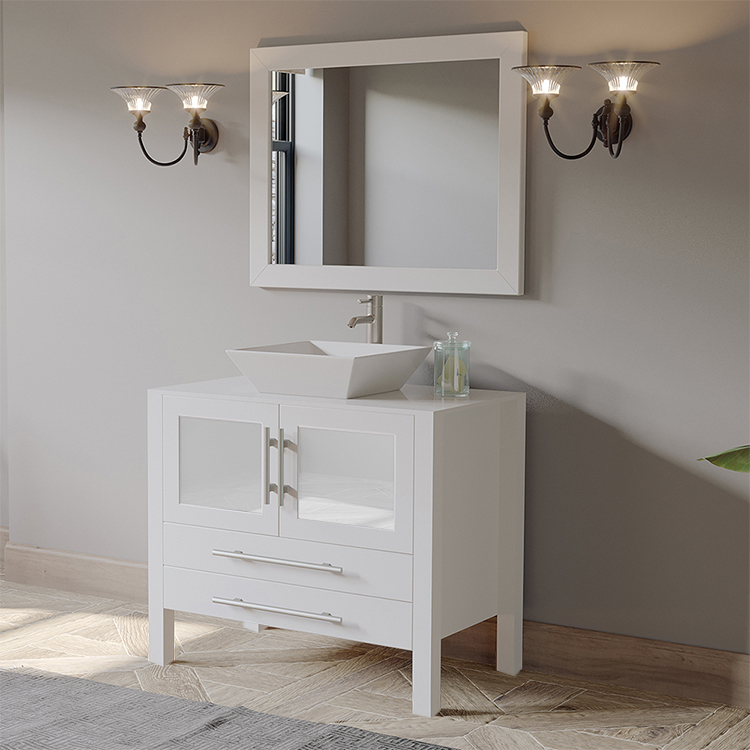 "36"" Solid Wood & Porcelain Single Vessel Sink Vanity Set White with a Polished Chrome Faucet"