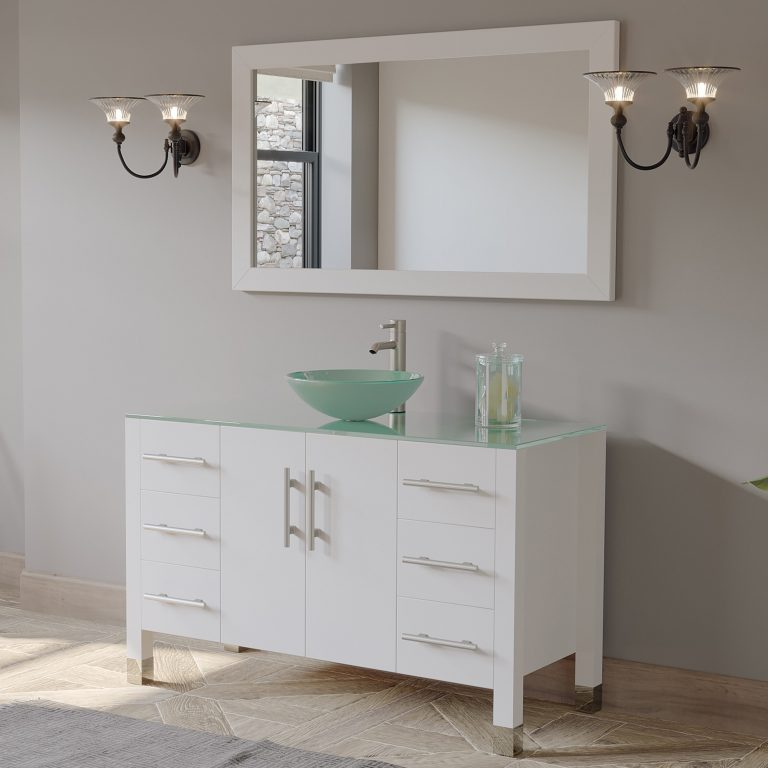 """48"""" Solid Wood Glass Vessel Sink Bathroom Vanity Set White Finish with a Polished Chrome"""