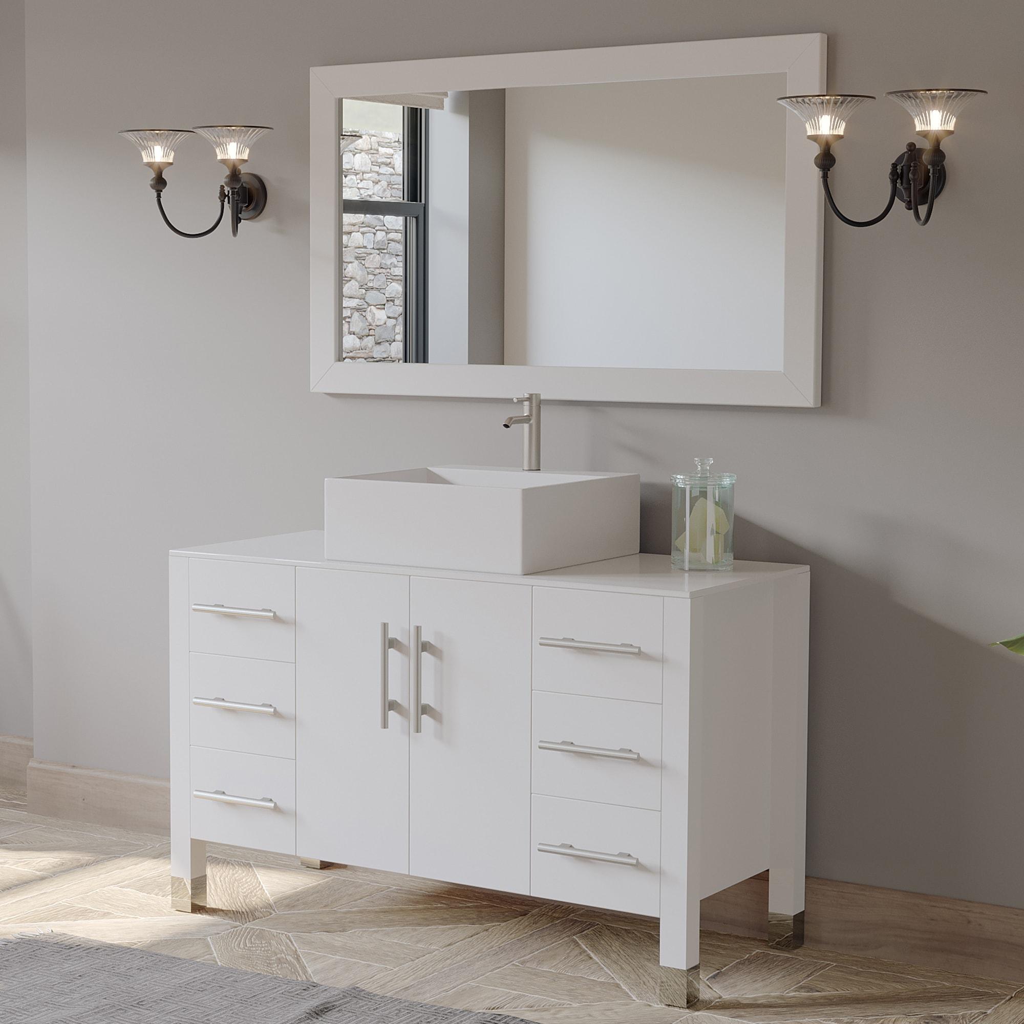 "48"" Modern White Wood & Porcelain Single Vessel Bathroom ..."
