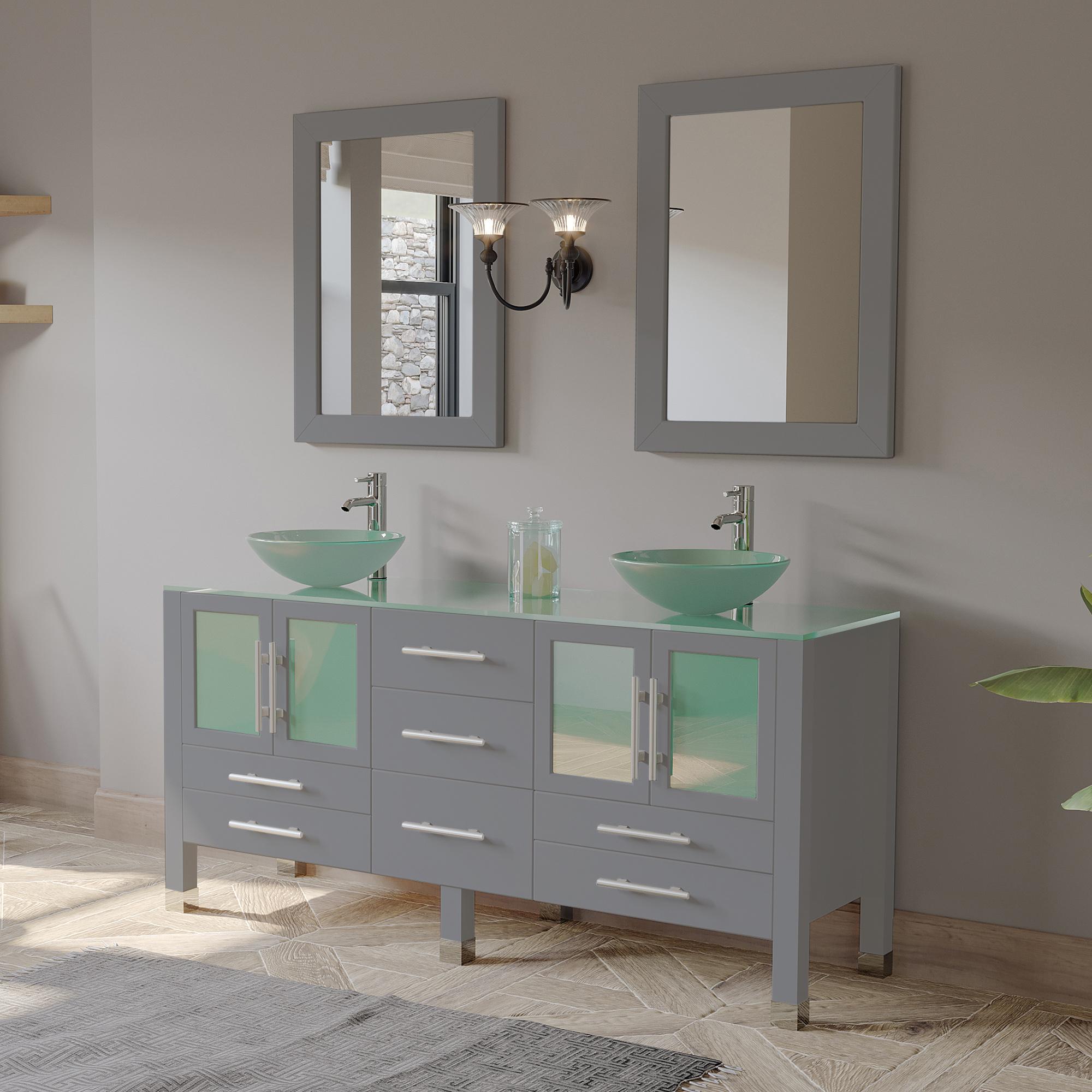 """63"""" Double Sink Bathroom Vanity Set with Polished Chrome Plumbing"""