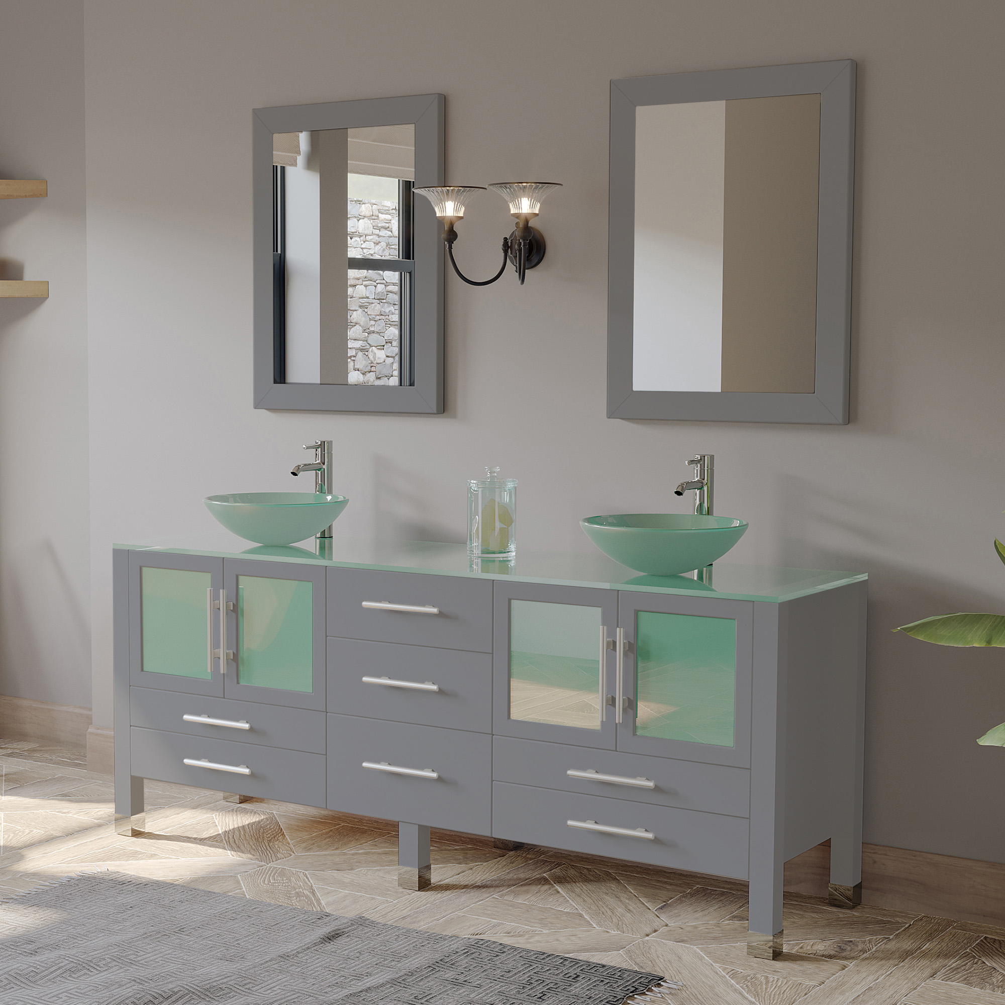 """71"""" Double Sink Bathroom Vanity Set in Modern Gray Finish with Polished Chrome Plumbing"""
