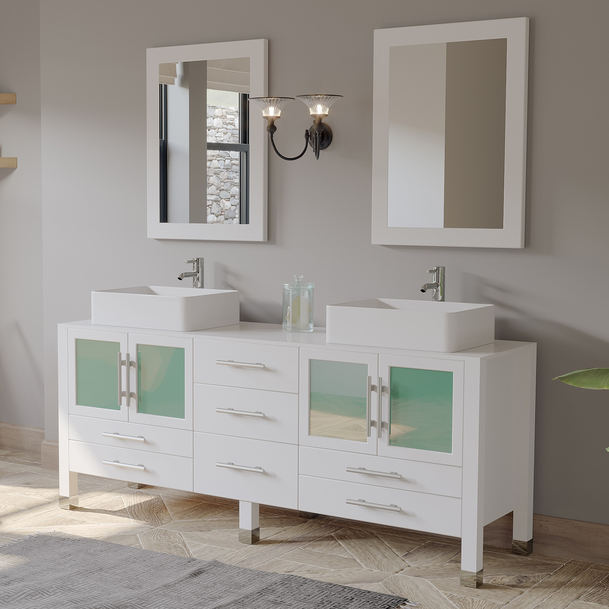 """71"""" Solid Wood Vanity with a Porcelain Counter Top and Two Matching Vessel Sinks, Two Long-Stemmed Faucets options and Drains"""