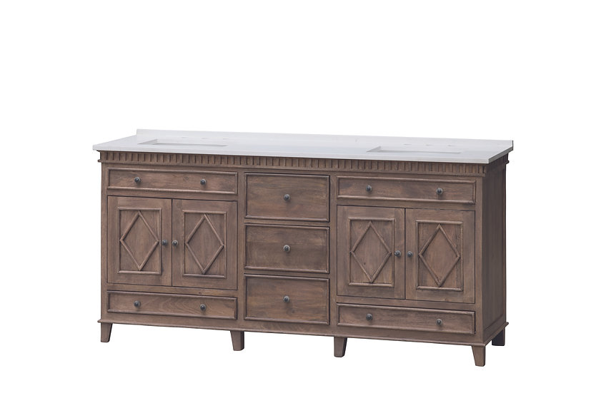 """72"""" Rustic Traditional Double Sink Black and White Quartz Top Rustic Wood Finish"""