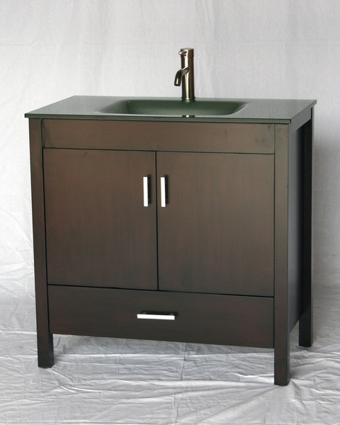 """36"""" Adelina Contemporary Style Single Sink Bathroom Vanity in Espresso Finish with Tempered Glass Countertop"""