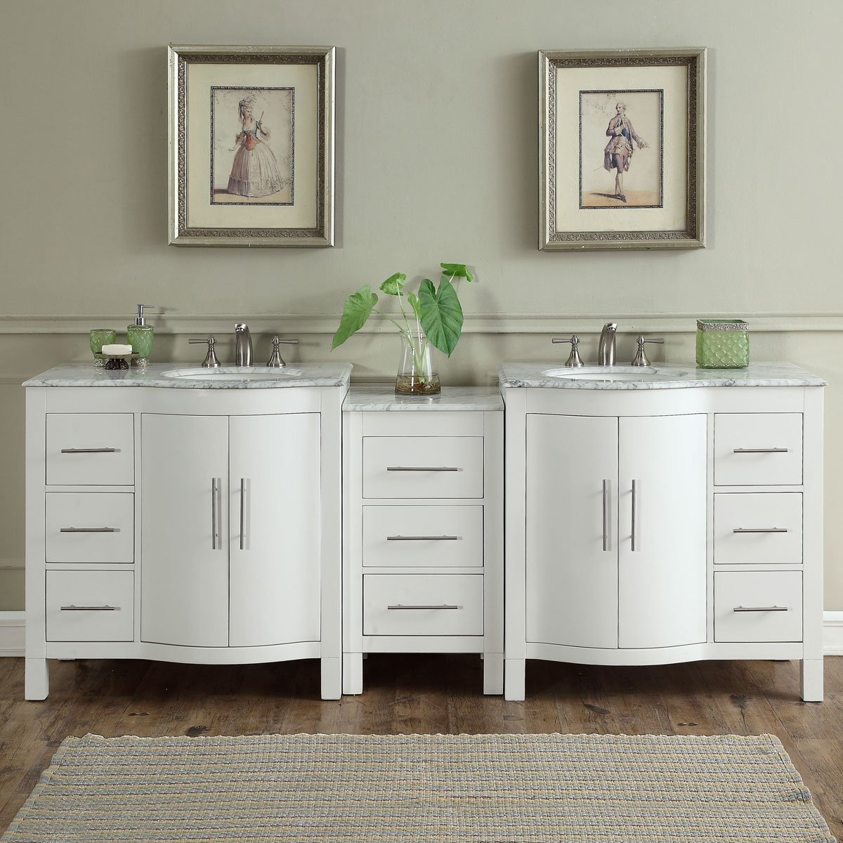 89 inch Double Sink Contemporary Bathroom Vanity White Finish Carrara Marble Top
