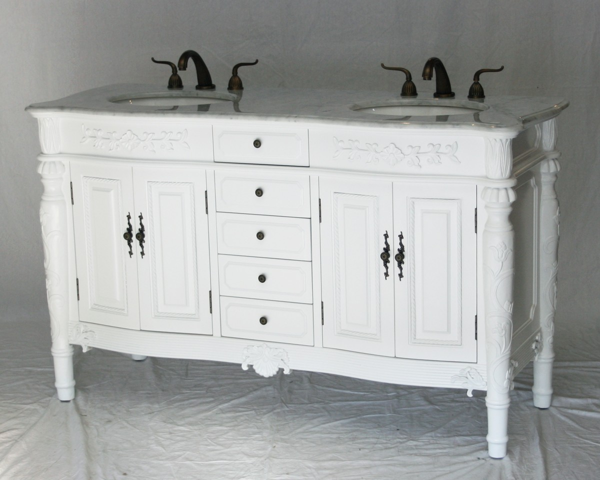 "60"" Adelina Antique Style Double Sink Bathroom Vanity Pure White Finish with White Italian Carrara Marble Countertop and Oval White Porcelain Sink"
