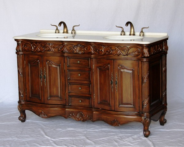 "60"" Adelina Antique Style Double Sink Bathroom Vanity in Walnut Finish with Crystal White Stone Countertop and Oval White Porcelain Sink"