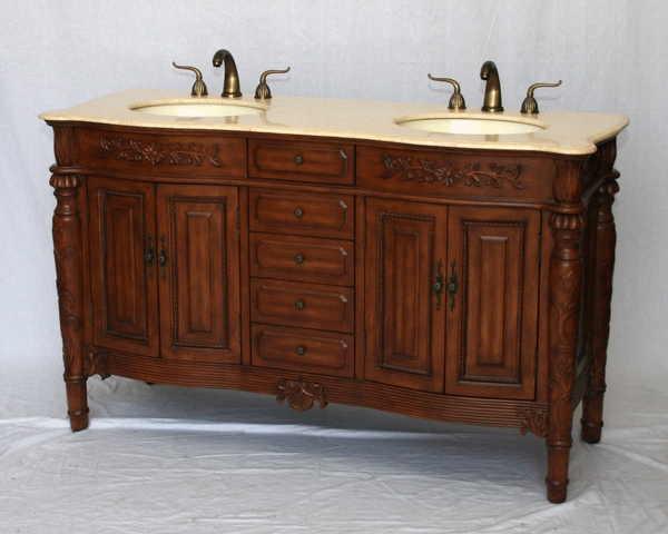 "60"" Adelina Antique Style Double Sink Bathroom Vanity in Walnut Cabinet Finish with Beige Stone Countertop"