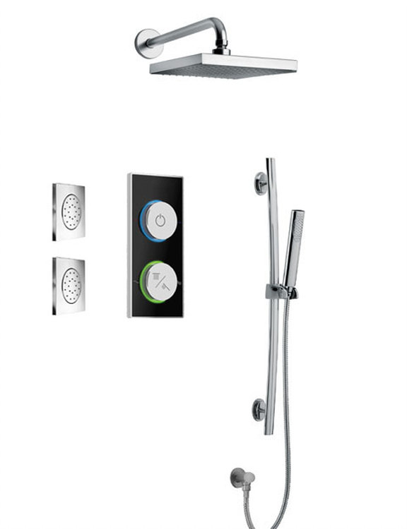 Digital Shower System With Showerhead, Slide Bar and 2 Concealed Body Jets in 2 Color Options