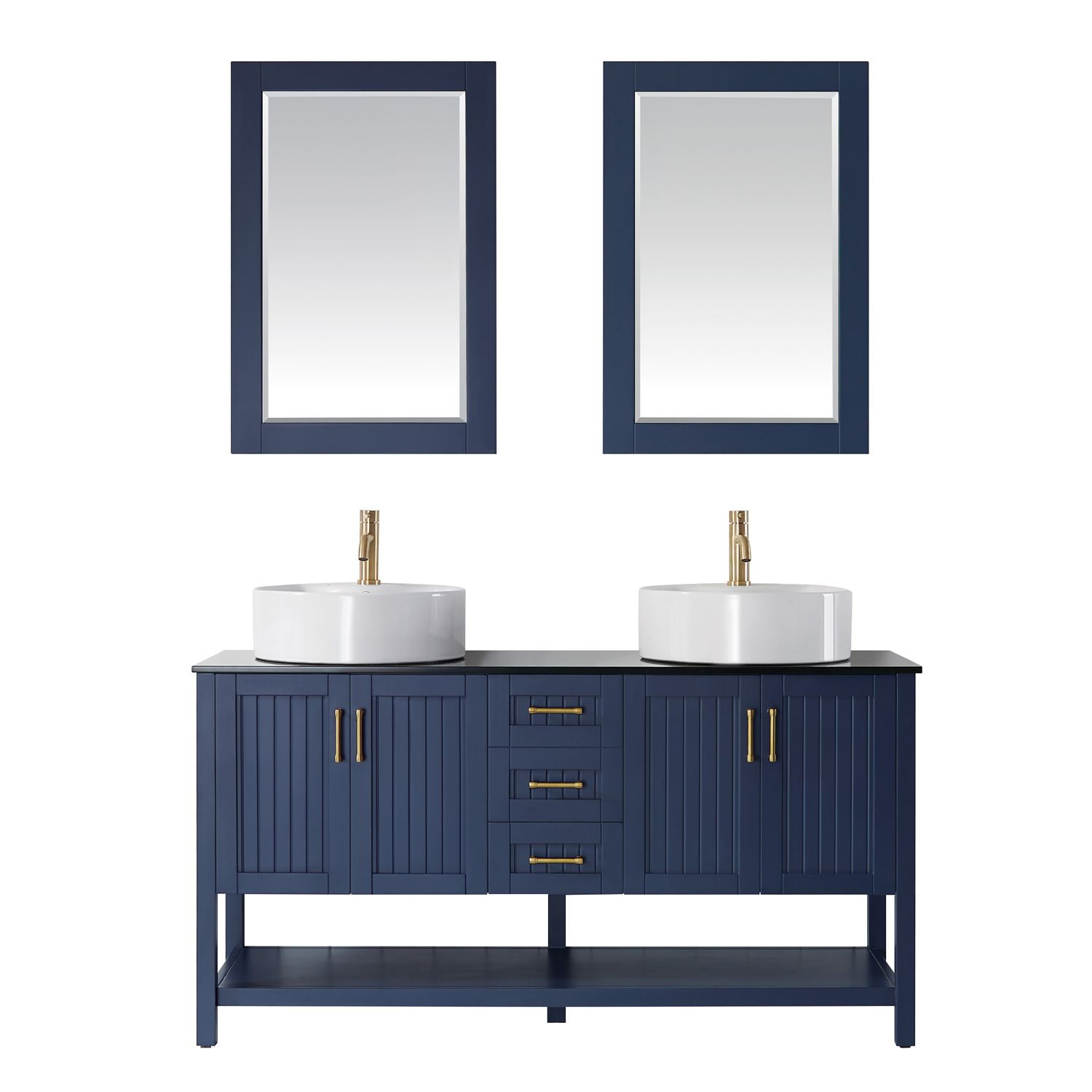 """60"""" Double Vanity in RoyalBlue with Glass Countertop with White Vessel Sink With Mirror"""