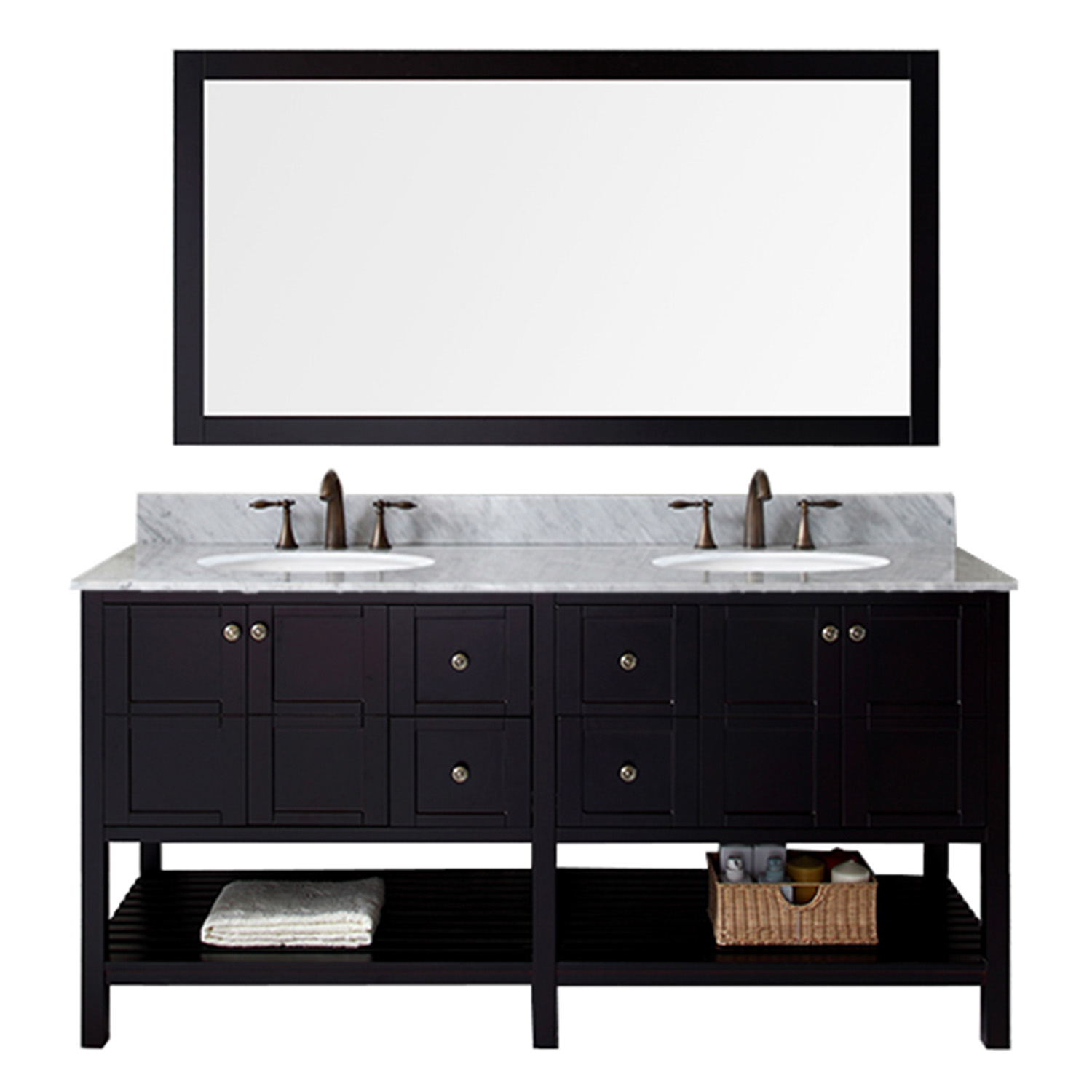 """72"""" Double Bath Vanity in Espresso Finish with Marble Top and Round Sink with Mirror Options"""