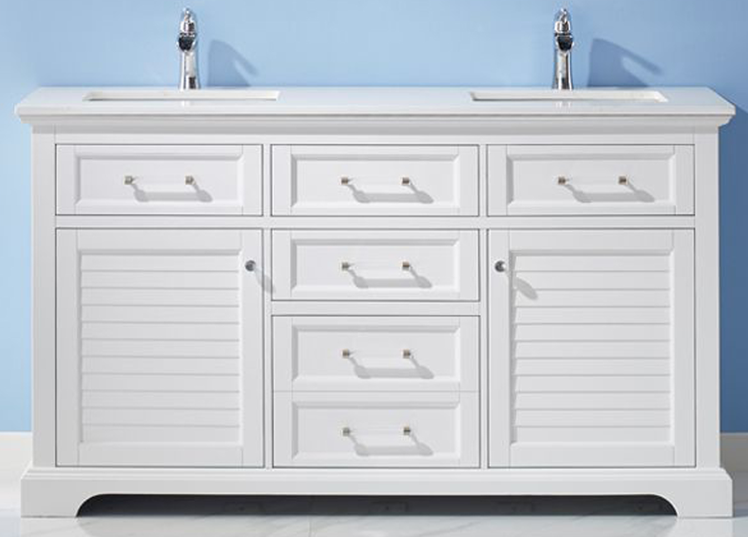 "60"" Double Vanity in White and Composite Carrara White Stone Countertop Without Mirror"