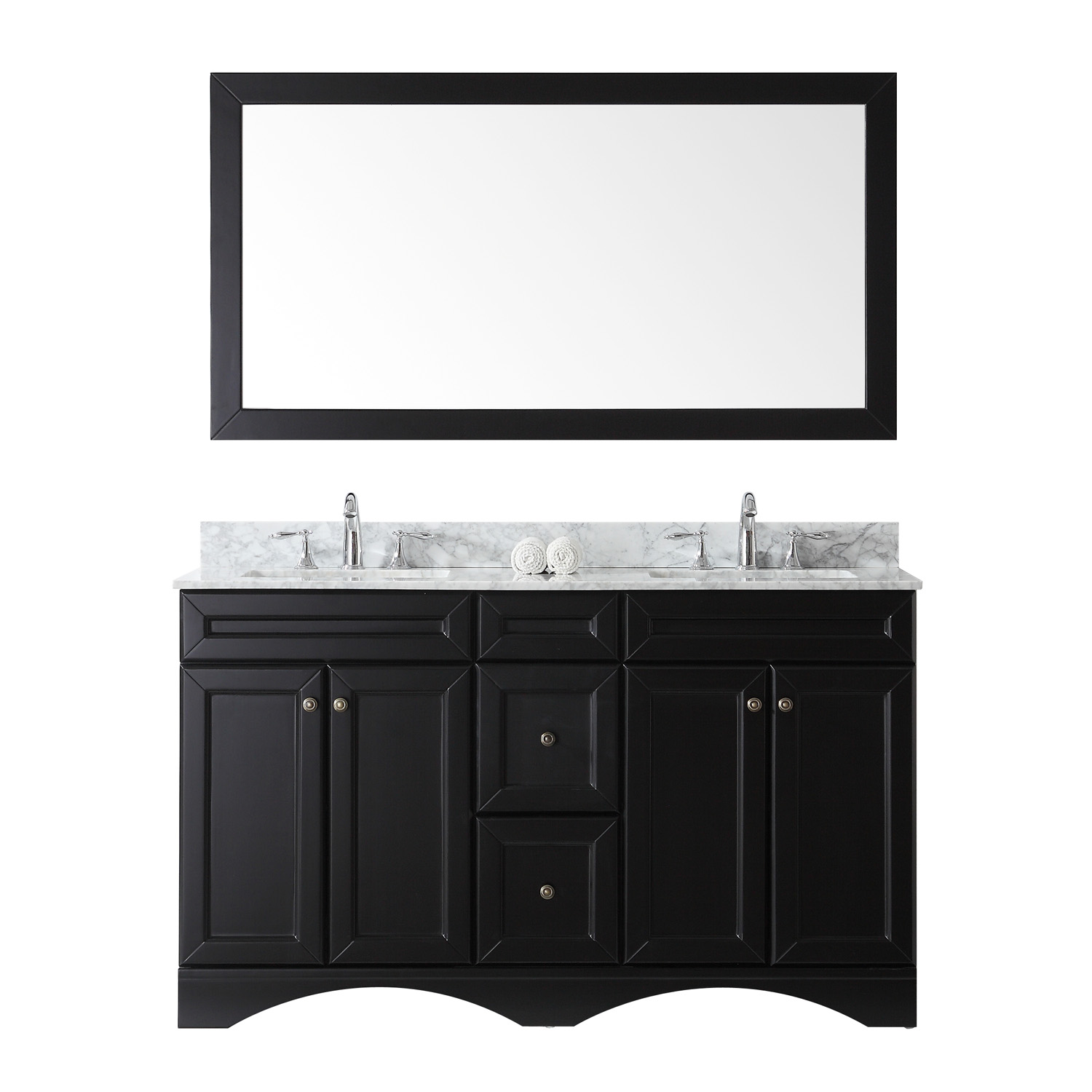 """60"""" Double Bath Vanity in Espresso with Marble Top and Square Sink with Faucet and Mirror Options"""