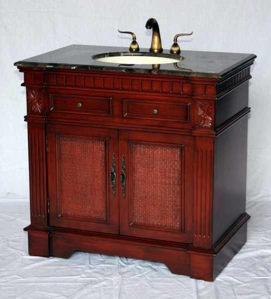 """36"""" Adelina Traditional Style Single Sink Bathroom Vanity in Cherry Finish with Light Brown Stone Countertop"""