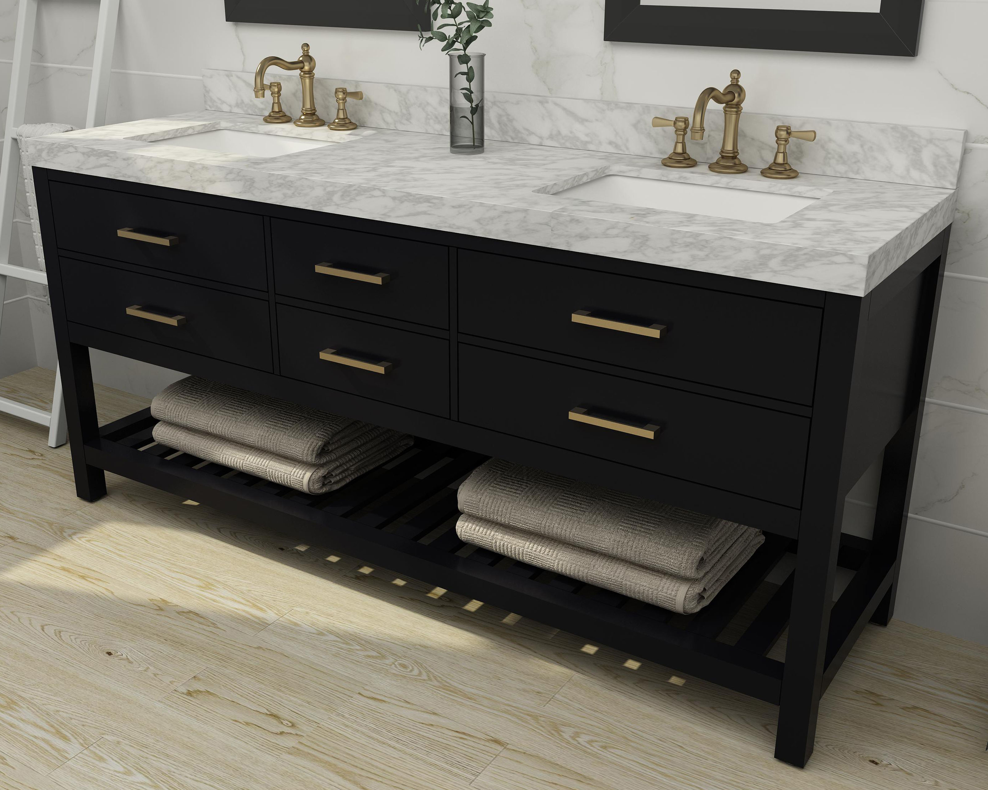 """72"""" Double Sink Bath Vanity Set in Black Onyx with Italian Carrara White Marble Vanity top and White Undermount Basin with Gold Hardware"""