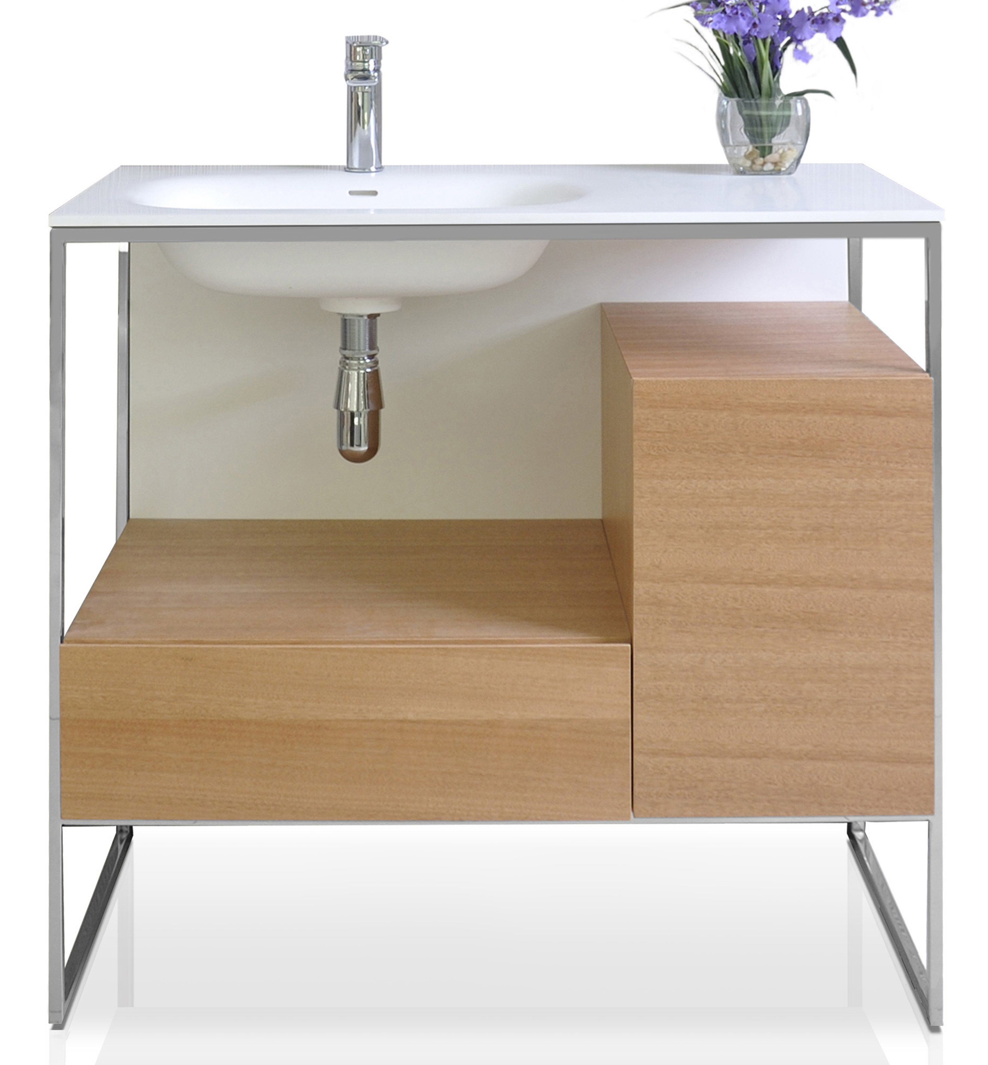 """36"""" Bath Vanity in Natural Walnut with White Matte Seamless Solid Surface Sink top and Mirror"""