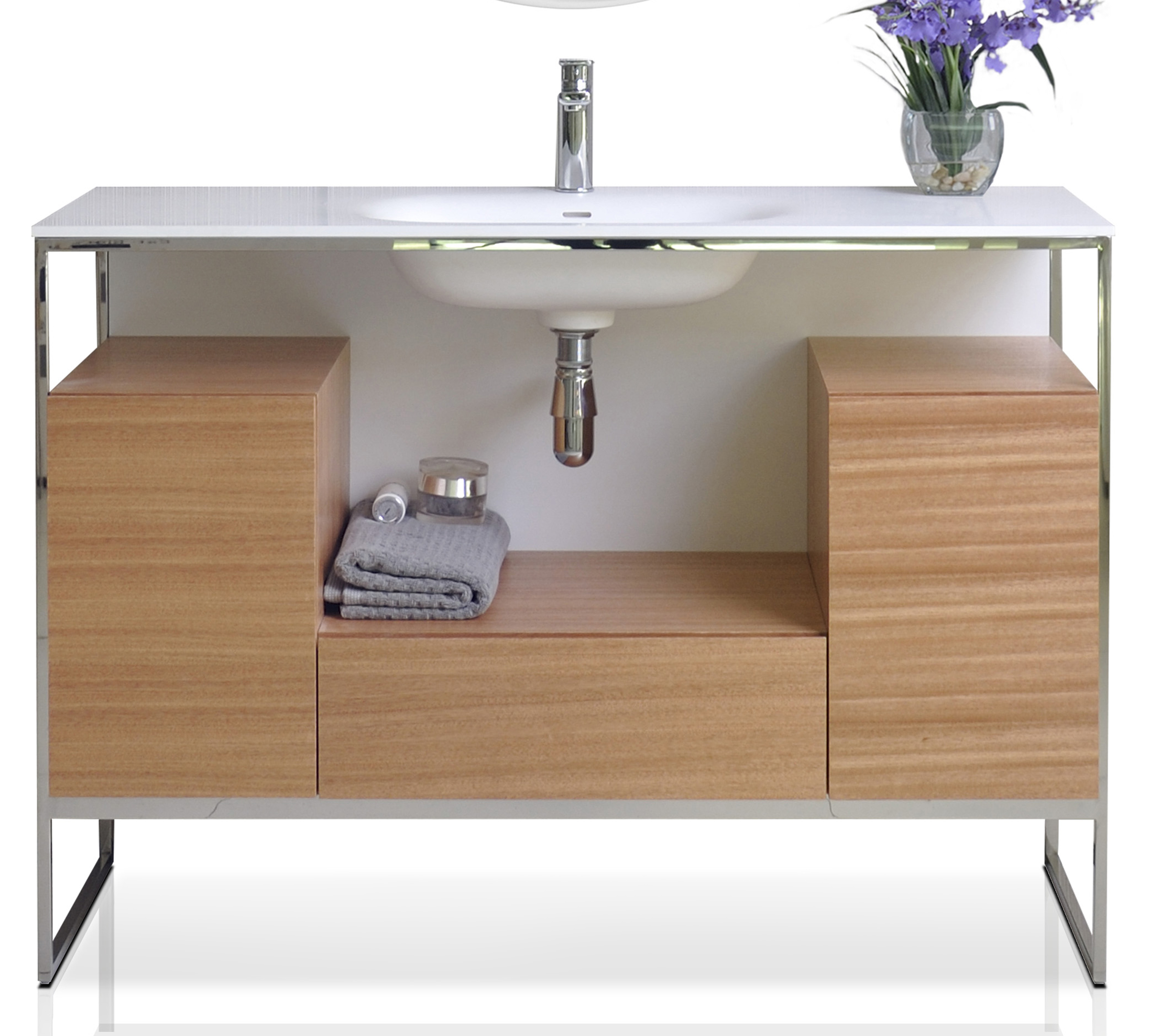 """48"""" Bath Vanity in Natural Walnut with White Matte Seamless Solid Surface Sink top and Mirror"""