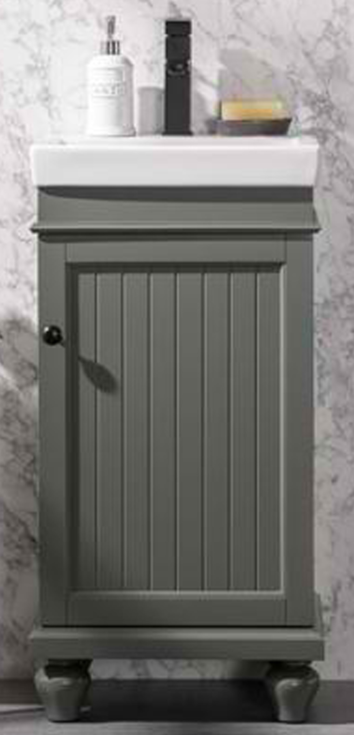 """18"""" Single Sink Bathroom Vanity in Pewter Green Finish with Ceramic Top and White Ceramic Sink Pre-drilled with One Hole"""