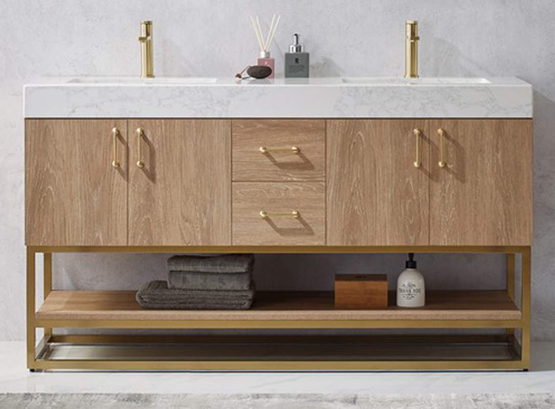 """60"""" Double Vanity in North American Oak with White Grain Stone Countertop, Hardware Option"""
