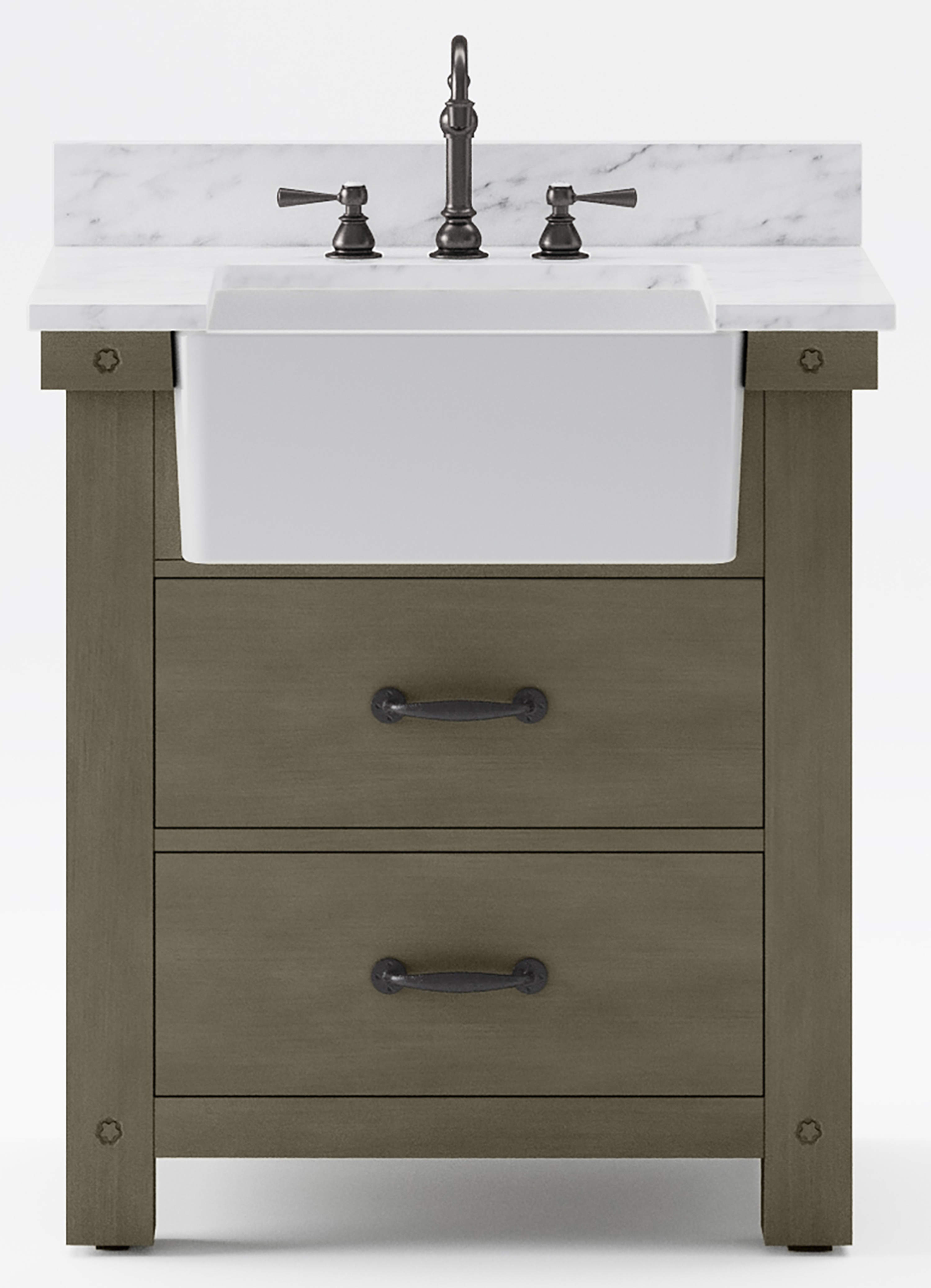 """30"""" Single Sink Carrara White Marble Countertop Vanity in Grizzle Gray with Mirror and Faucet Options"""