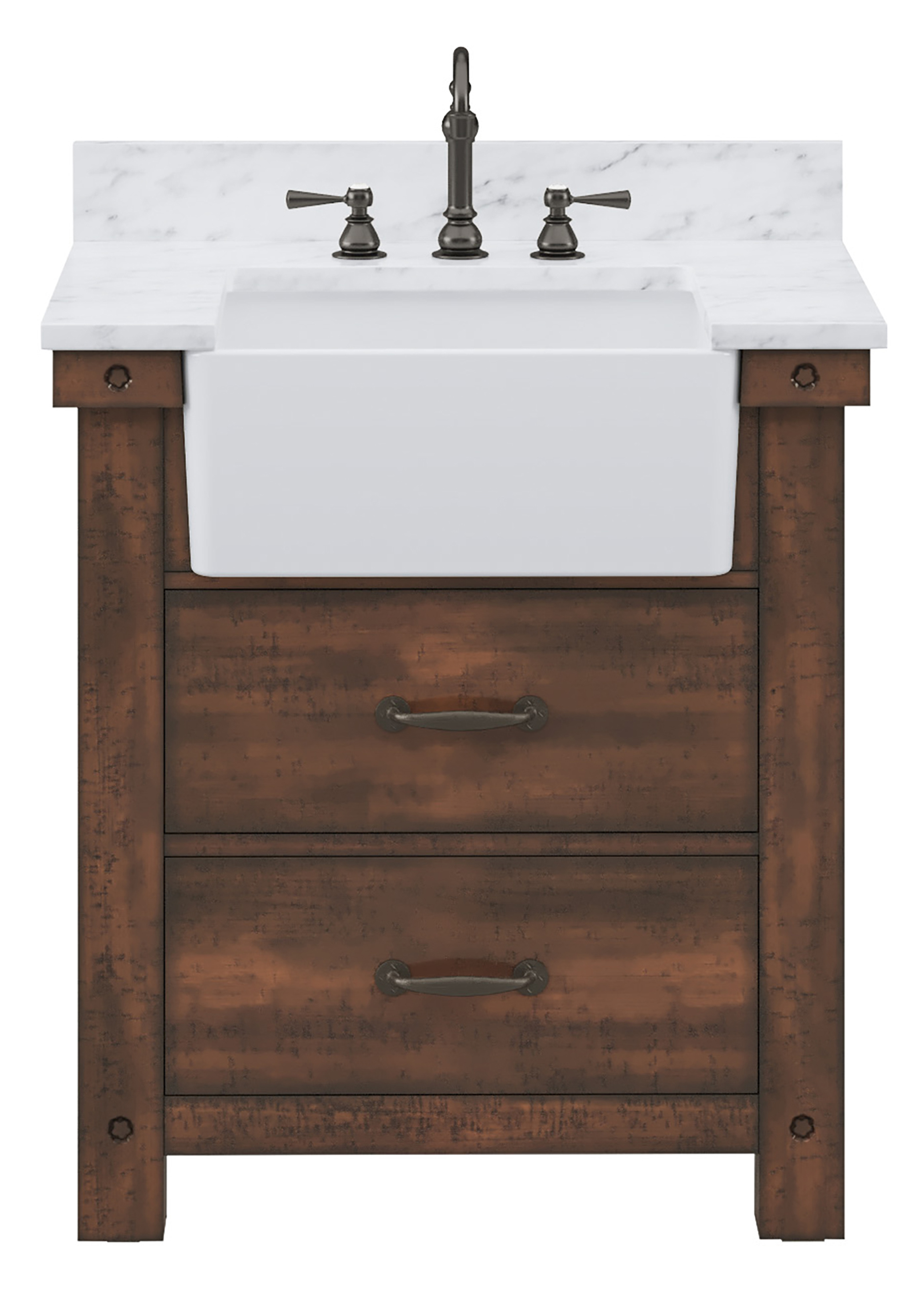"""30"""" Single Sink Carrara White Marble Countertop Vanity in Rustic Sienna with Mirror and Faucet Options"""