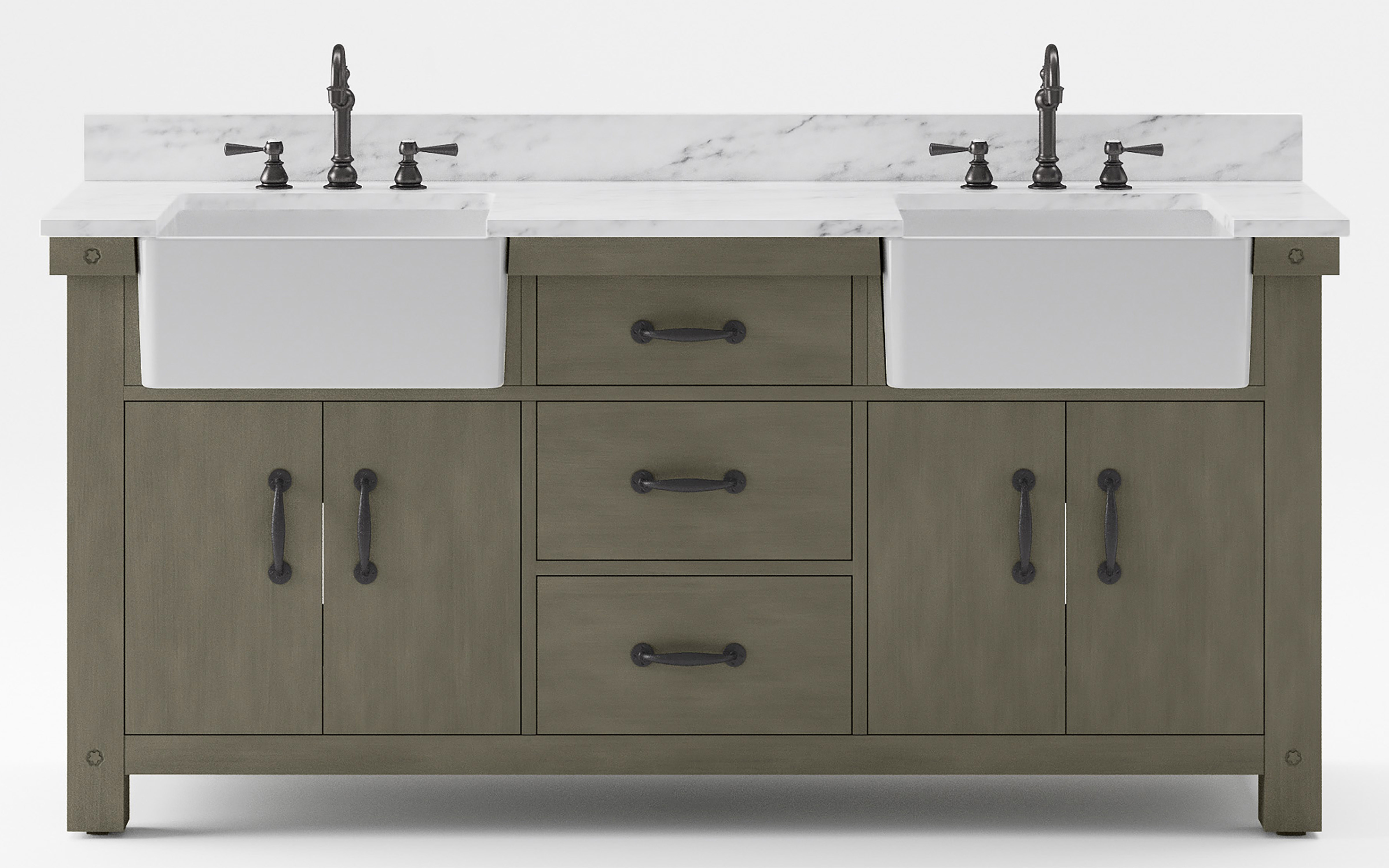 """72"""" Double Sink Carrara White Marble Countertop Vanity in Grizzle Gray with Mirror and Faucet Options"""