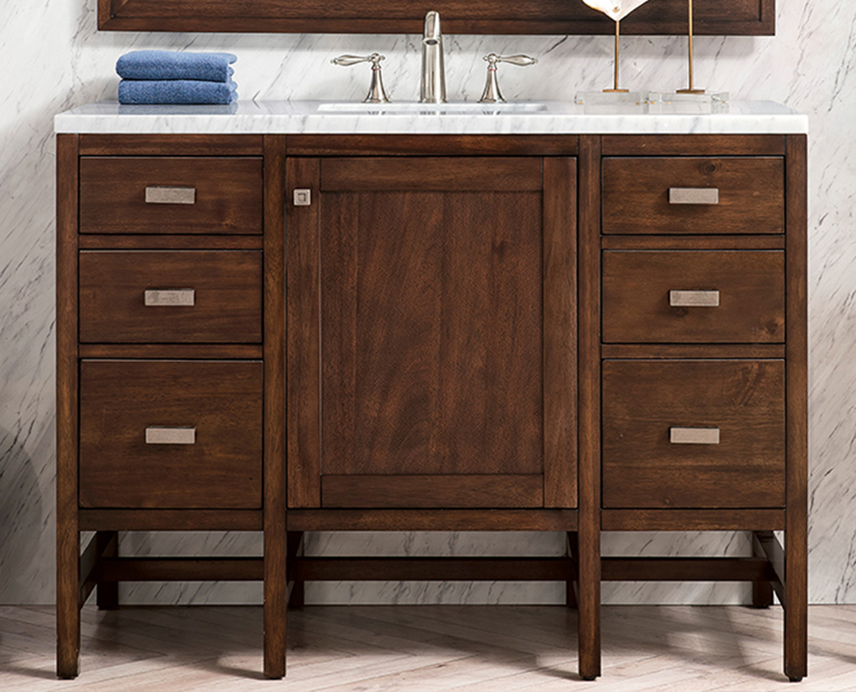 "James Martin Addison Collection 126"" Double Vanity Cabinet, Mid Century Acacia"