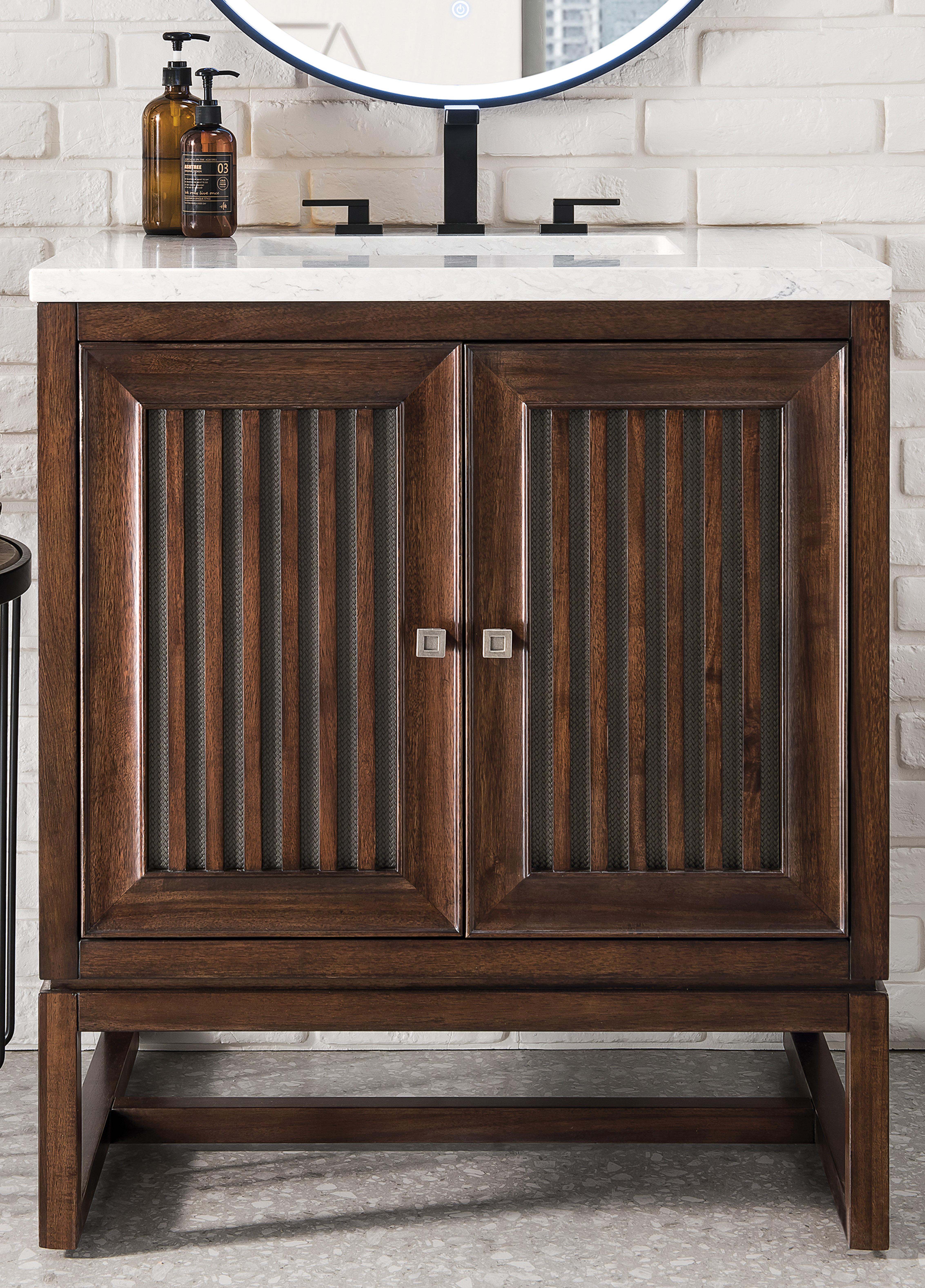 "James Martin Athens Collection 30"" Single Vanity Cabinet, Mid Century Acacia"