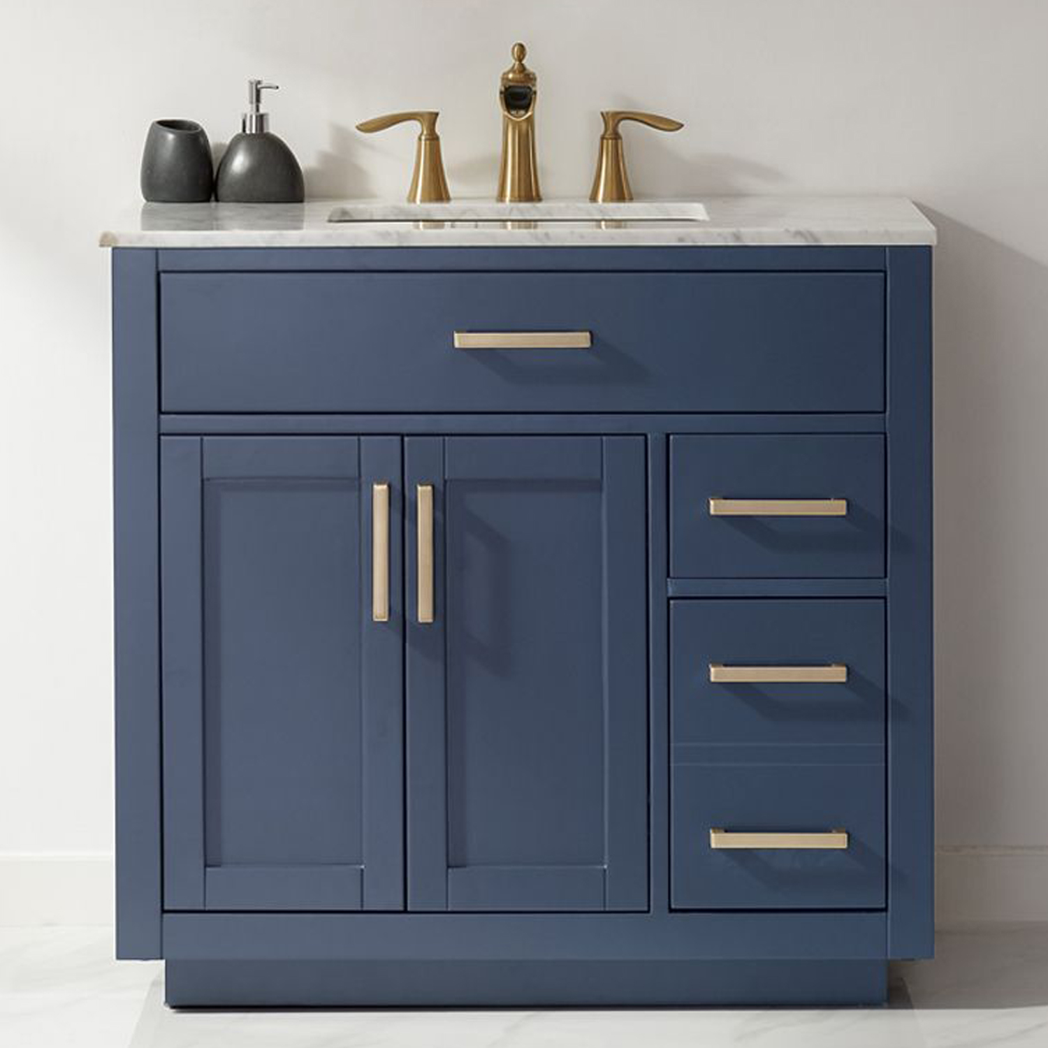 """Issac Edwards Collection 36"""" Single Bathroom Vanity Set in RoyalBlue and Carrara White Marble Countertop"""