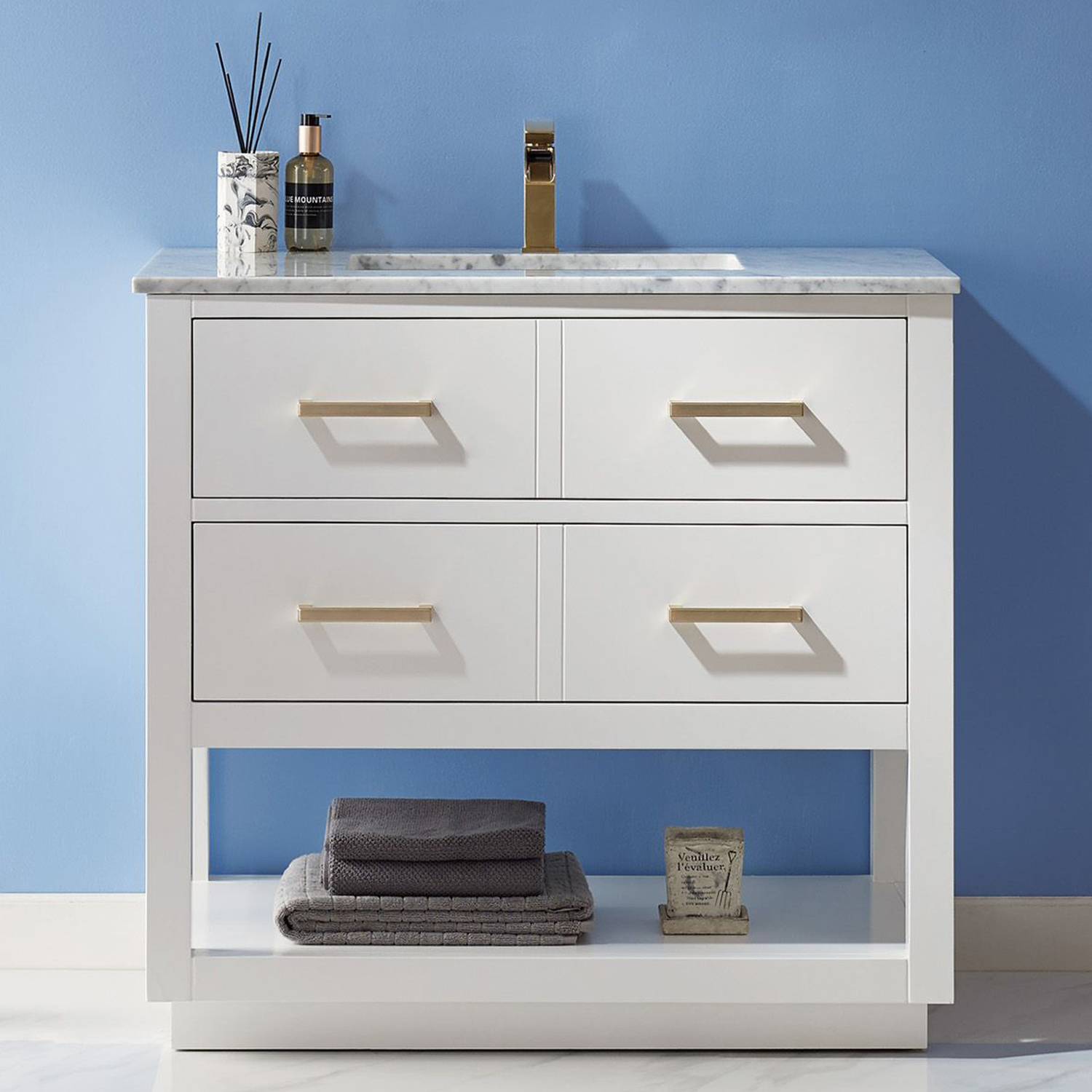 """Issac Edwards Collection 36"""" Single Bathroom Vanity Set in White and Carrara White Marble Countertop with Mirror Option"""