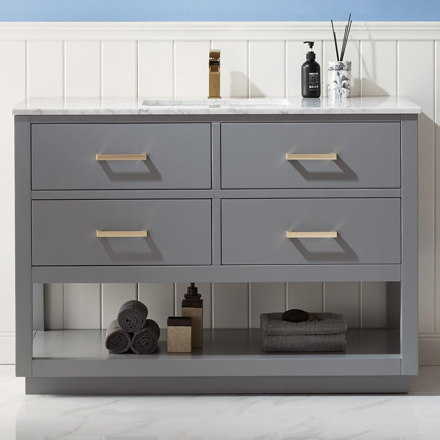 """Issac Edwards Collection 48"""" Single Bathroom Vanity Set in Gray and Carrara White Marble Countertop with Mirror Option"""