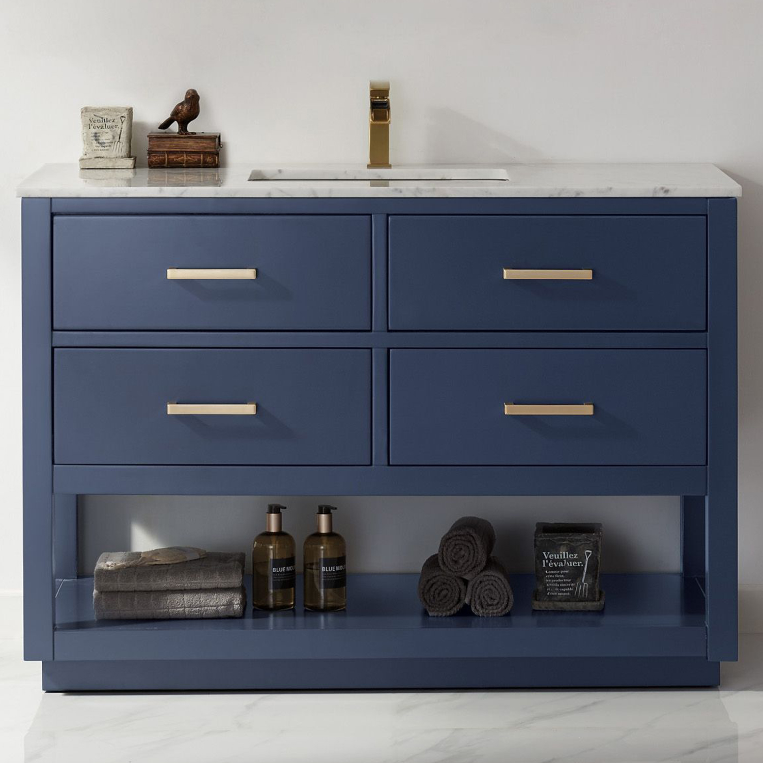 """Issac Edwards Collection 48"""" Single Bathroom Vanity Set in RoyalBlue and Carrara White Marble Countertop with Mirror Option"""