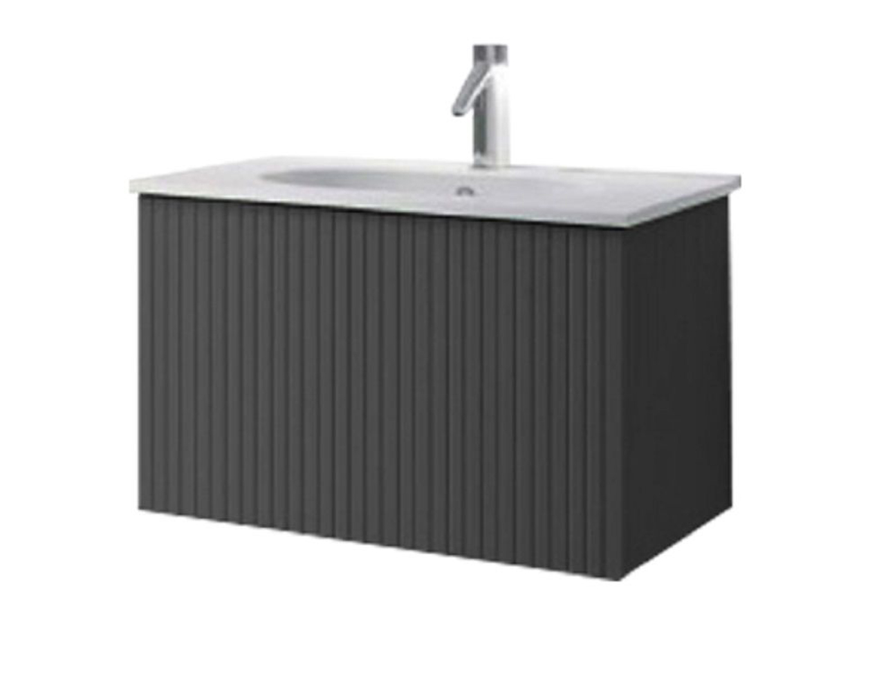 """24"""" Heather Grey Finish Wall Mount Bath Vanity with Linen Cabinet Option Made in Spain"""