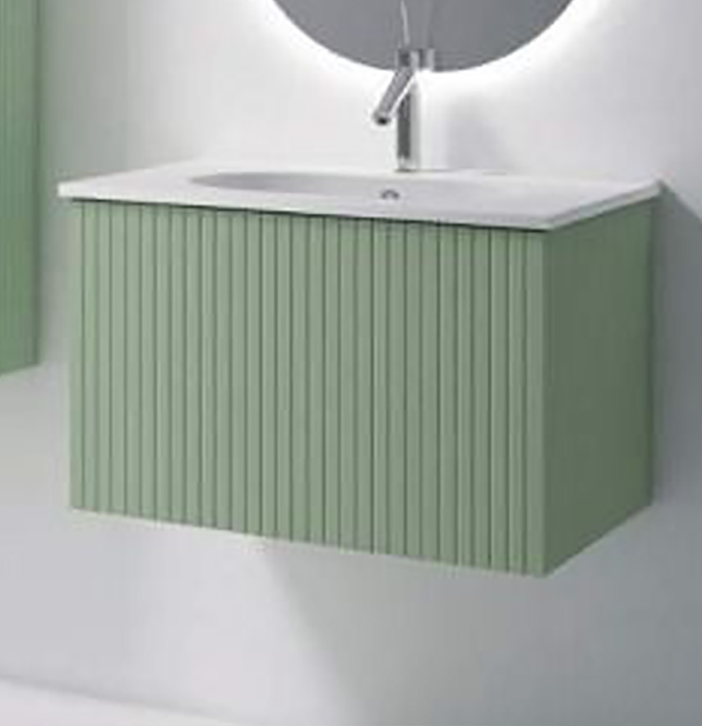 """48"""" Lime Finish Wall Mount Bath Vanity with Linen Cabinet Option Made in Spain"""