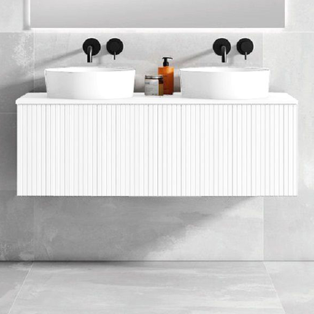 """48"""" Bright White Wall Mount Bath Vanity with Linen Cabinet Option Made in Spain"""