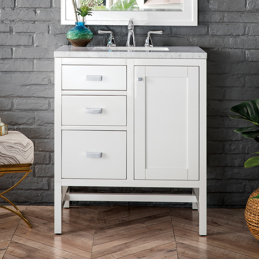 """James Martin Addison Collection 30"""" Single Vanity Cabinet (w/Doors), Glossy White"""