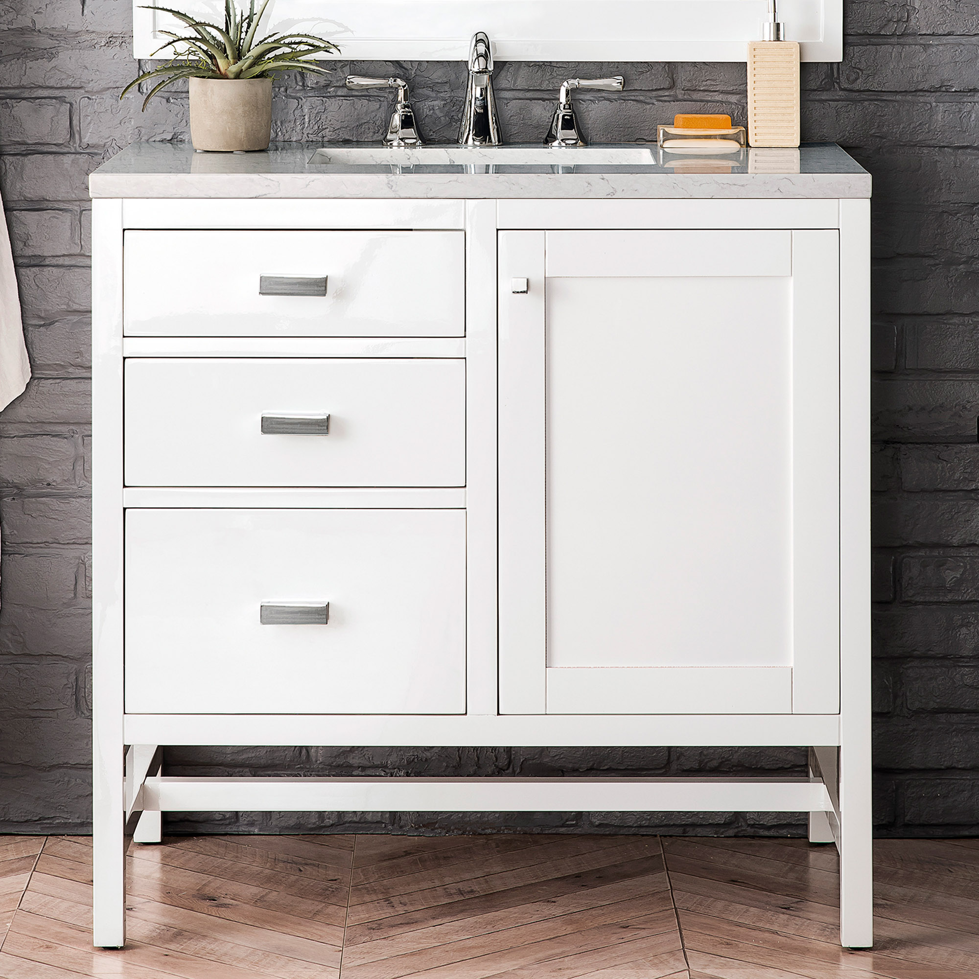 """James Martin Addison Collection 36"""" Single Vanity Cabinet (w/Doors), Glossy White"""
