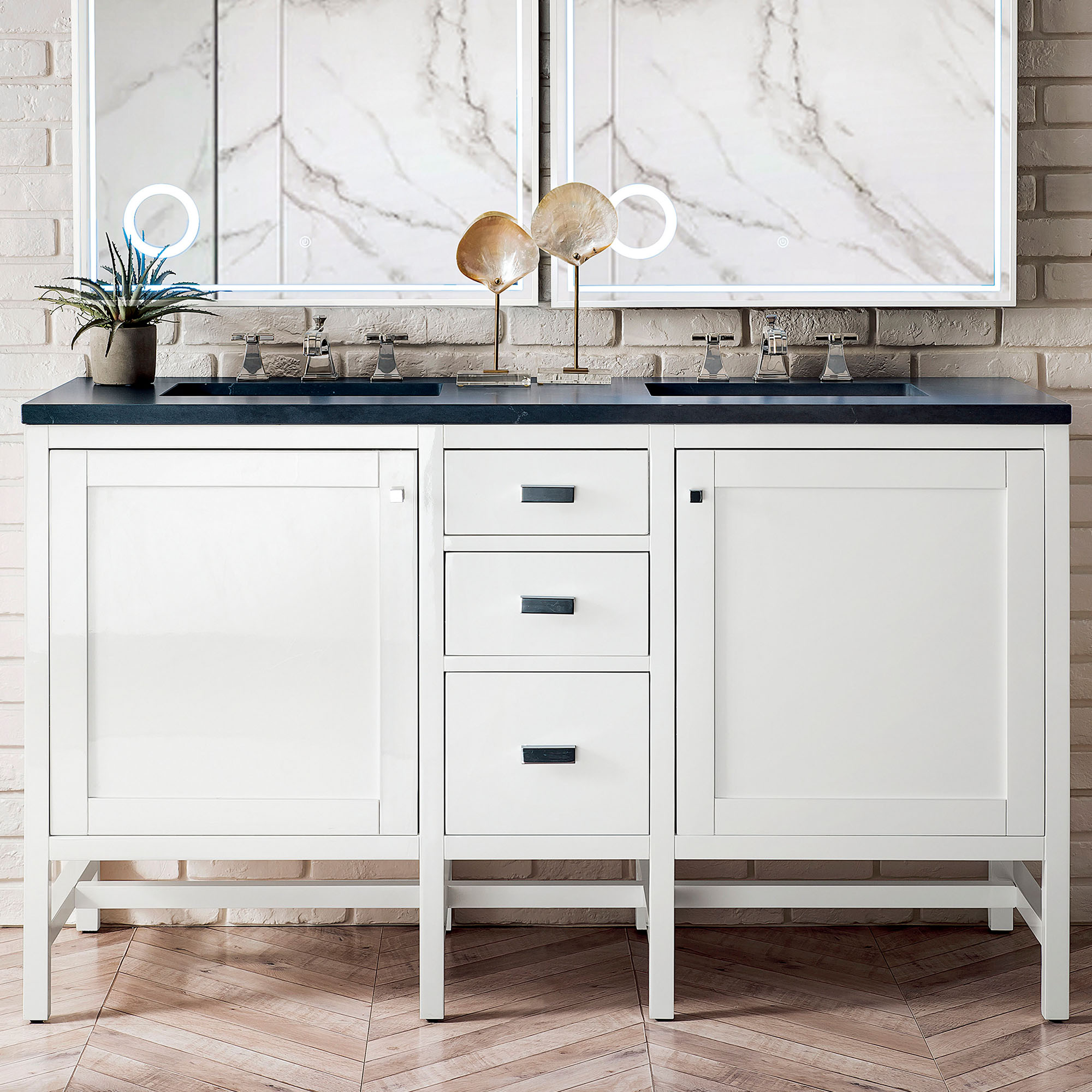 """James Martin Addison Collection 60"""" Double Vanity Cabinet, Glossy White Finish"""