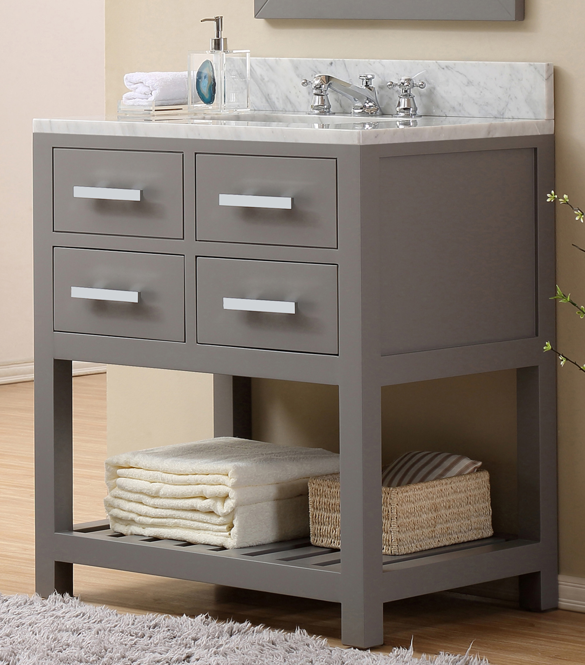 "30"" Cashmere Grey Single Sink Bathroom Vanity"